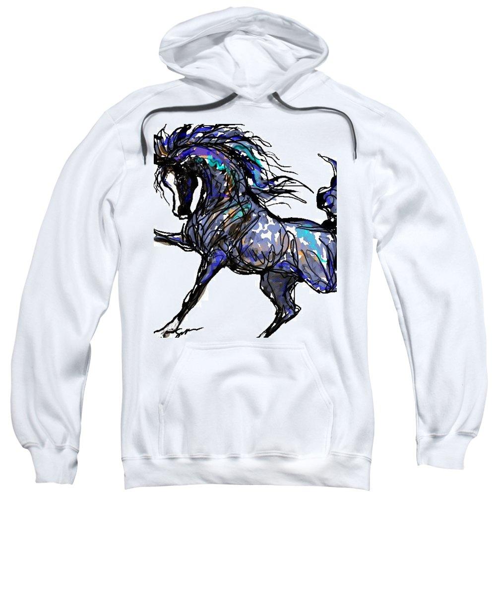 Horse Card Sweatshirt featuring the digital art Arabian In Blue by Stacey Mayer
