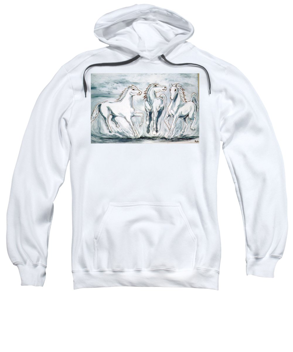 Horses Sweatshirt featuring the painting Arabian Roots by Marco Morales