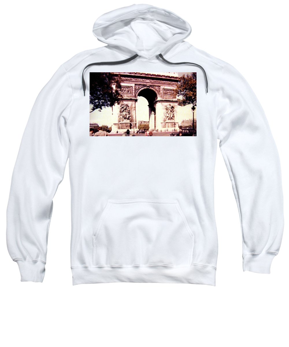 1955 Sweatshirt featuring the photograph Arc De Triomphe 1955 by Will Borden