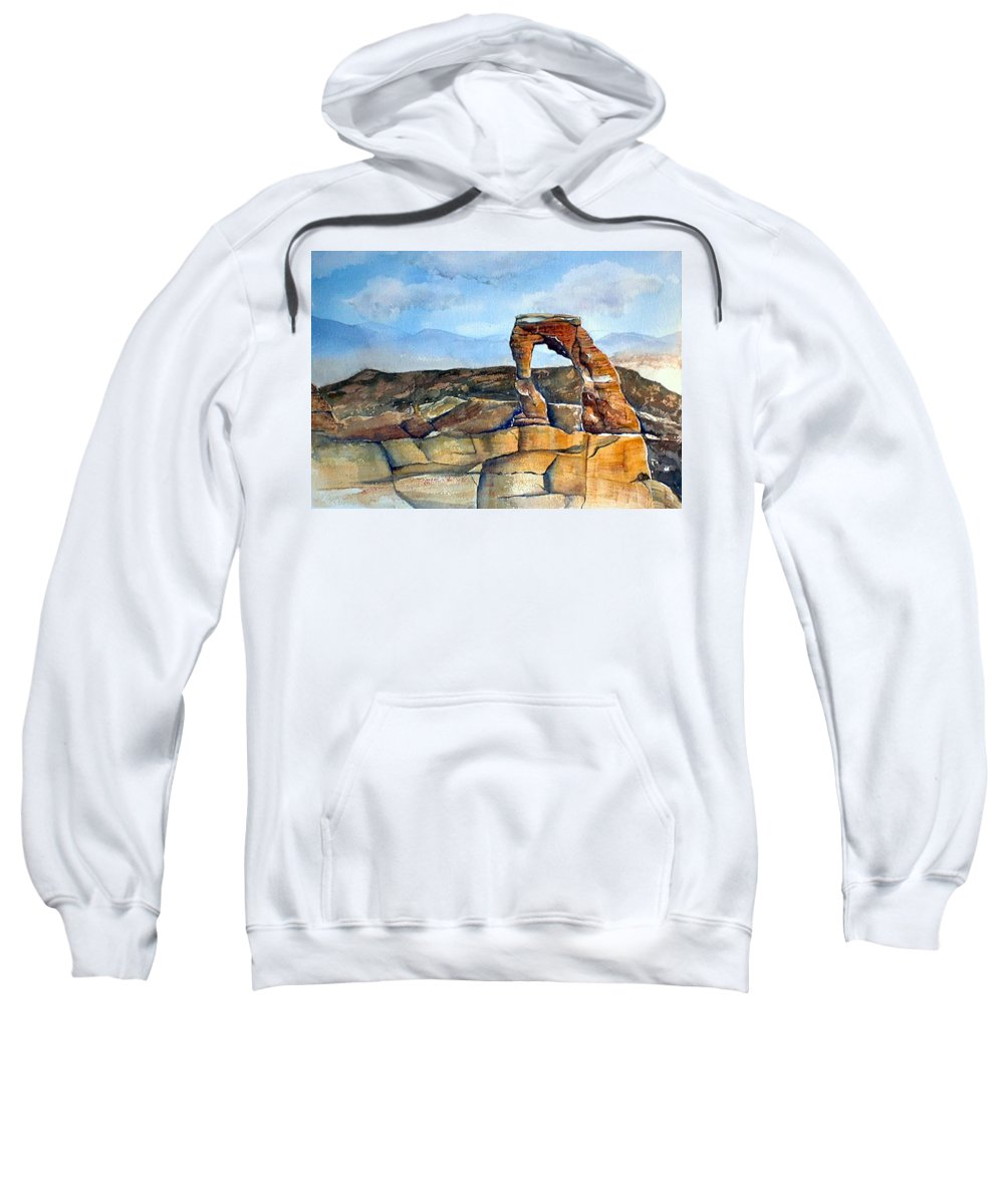 Arches National Park Sweatshirt featuring the painting Arches National Park by Debbie Lewis