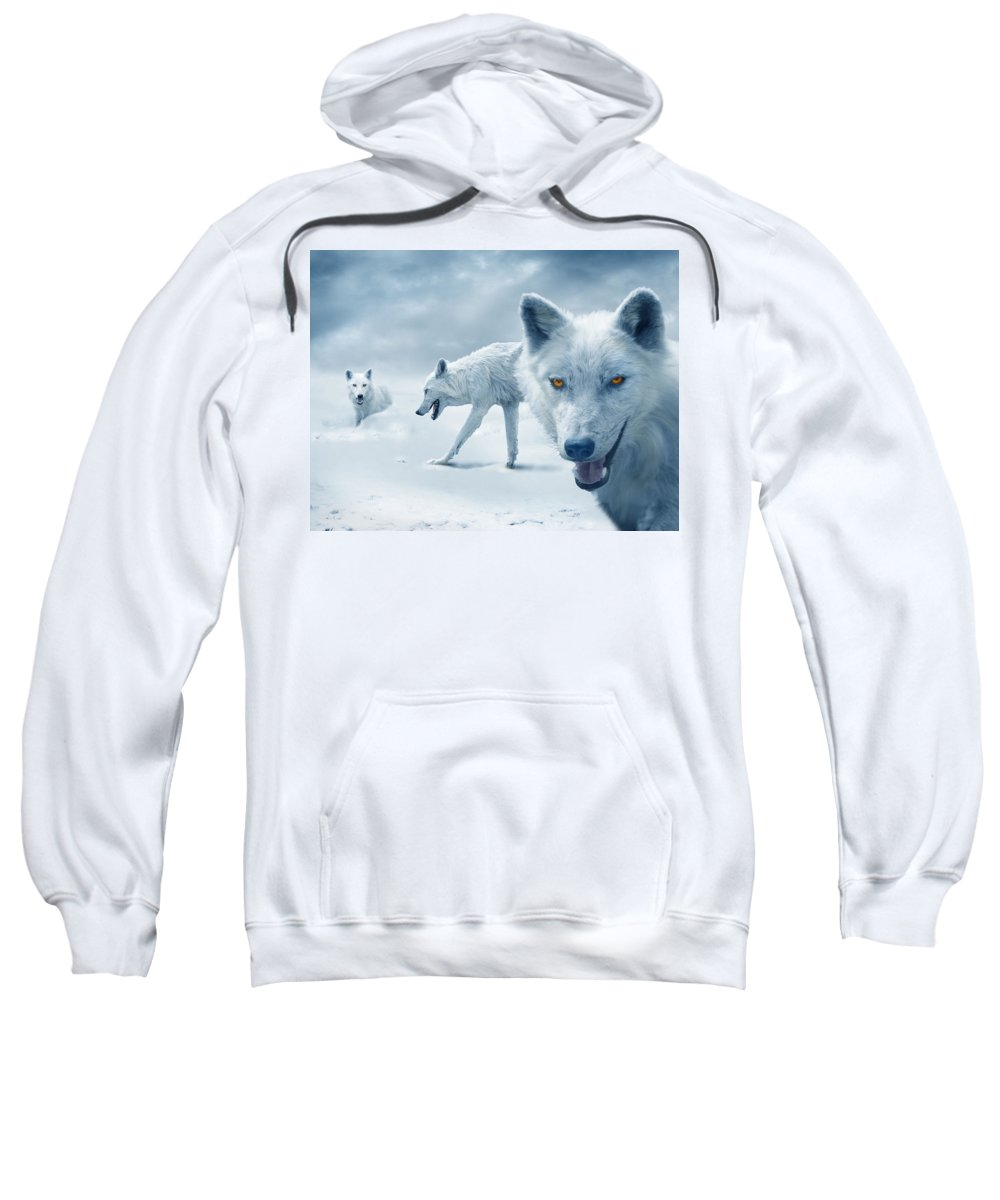 Arctic Sweatshirt featuring the photograph Arctic Wolves by Mal Bray