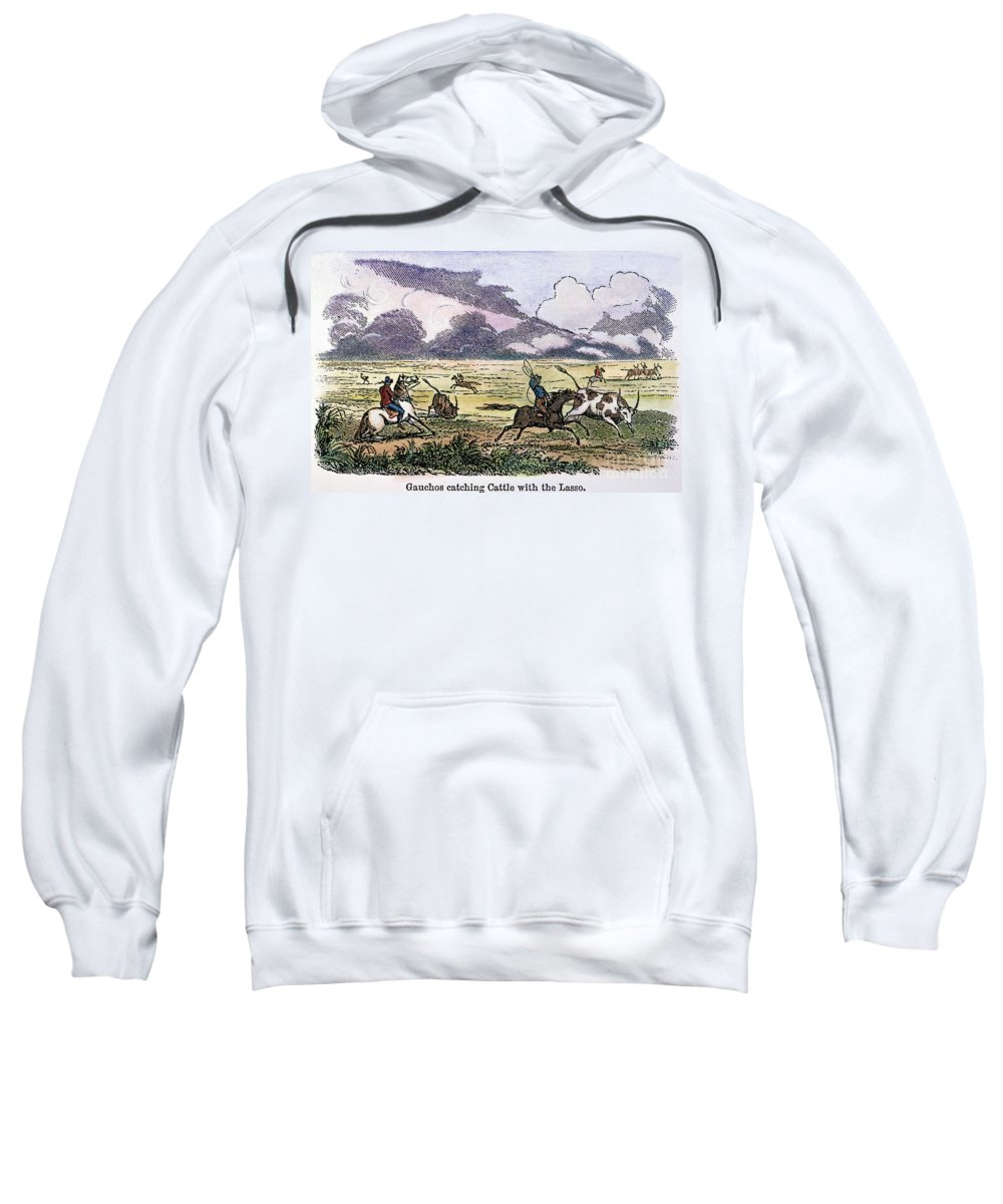 1853 Sweatshirt featuring the photograph Argentina: Gauchos, 1853. Gauchos Catching Cattle On The Argentine Pampas. Wood Engraving, American, 1853 by Granger