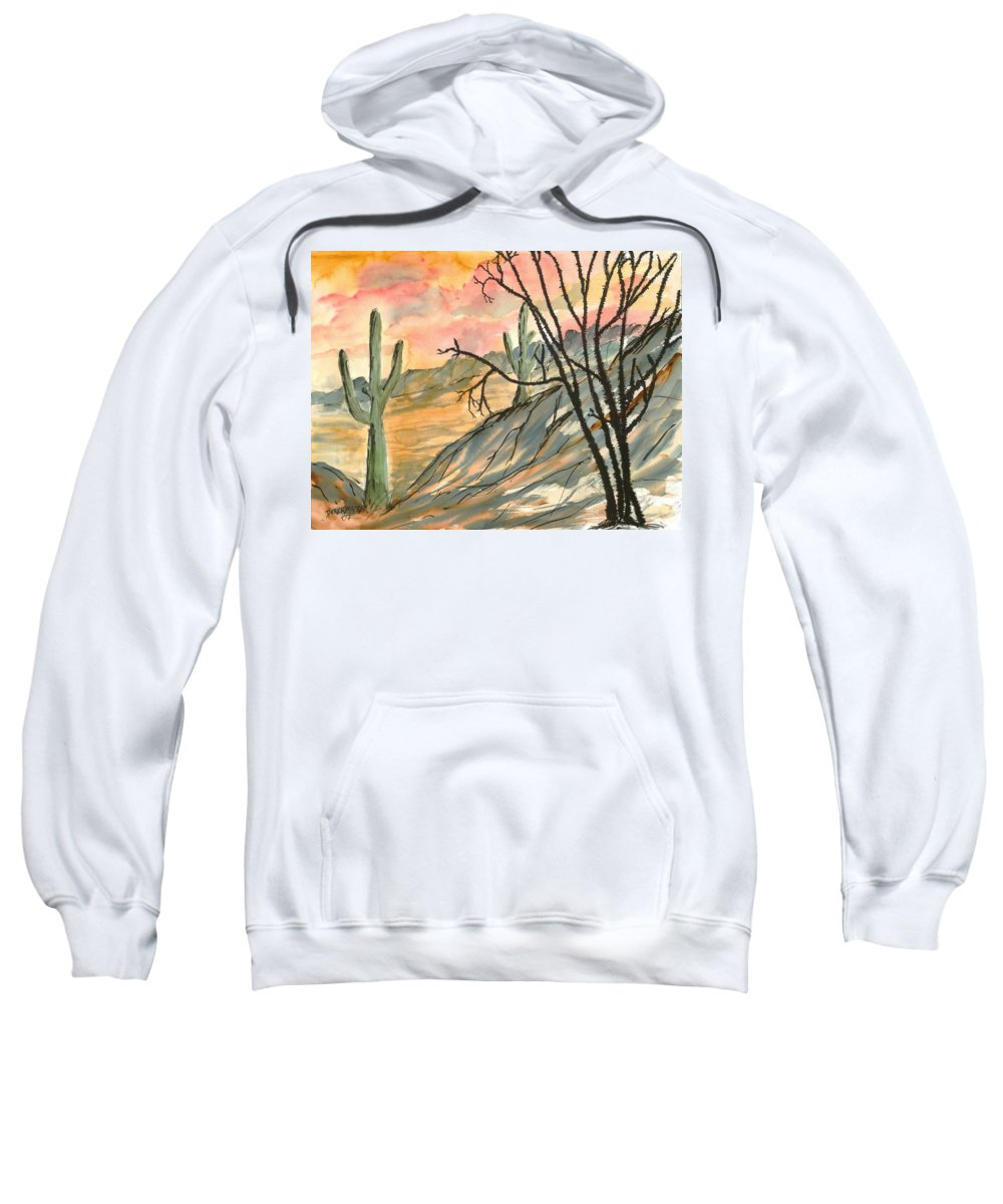 Drawing Sweatshirt featuring the painting Arizona Evening Southwestern Landscape Painting Poster Print by Derek Mccrea