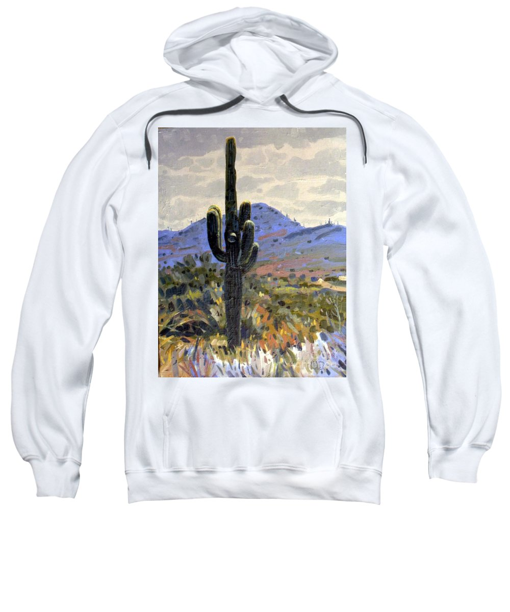 Saguaro Cactus Sweatshirt featuring the painting Arizona Icon by Donald Maier