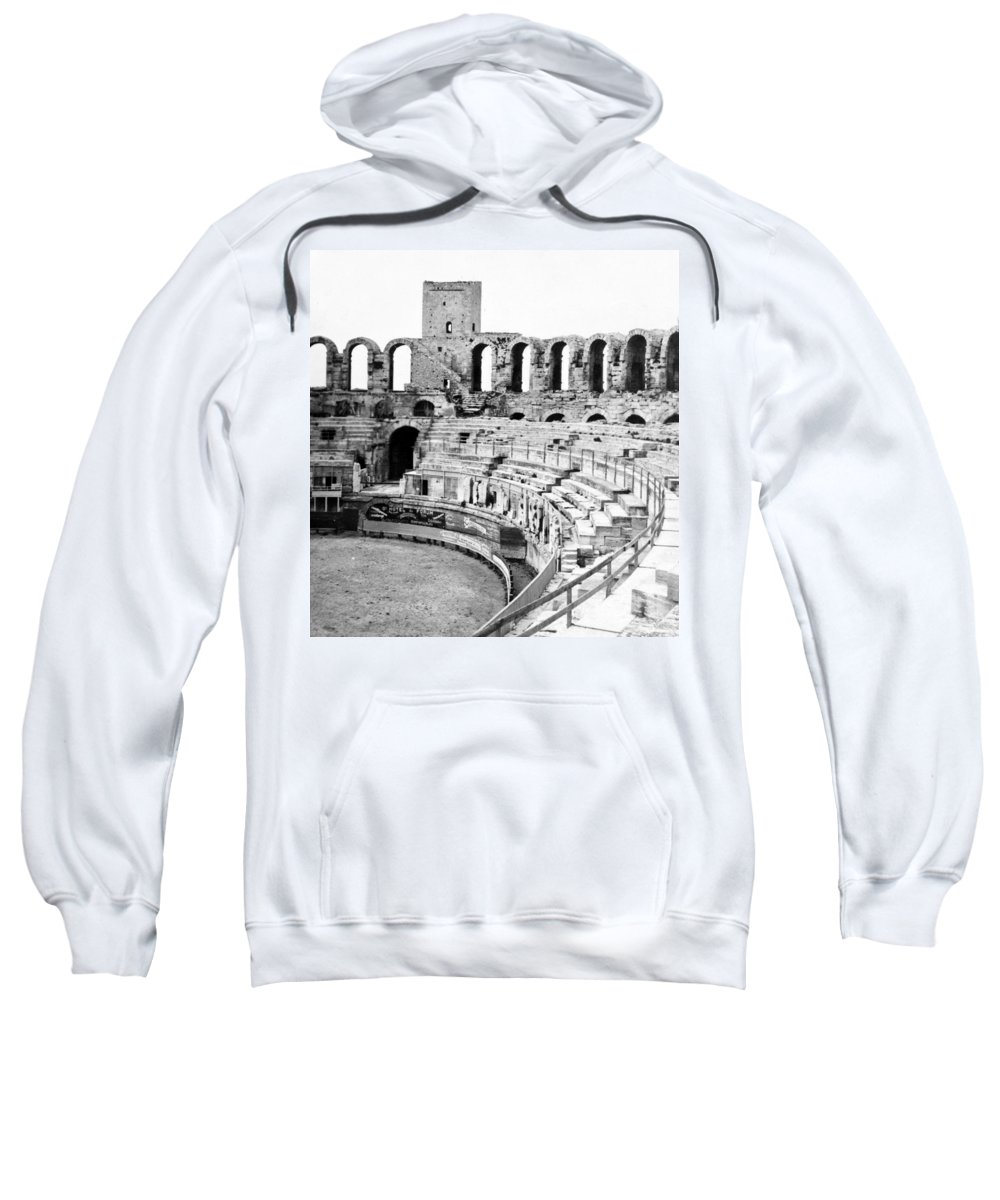 Arles Sweatshirt featuring the photograph Arles Amphitheater A Roman Arena In Arles - France - C 1929 by International Images
