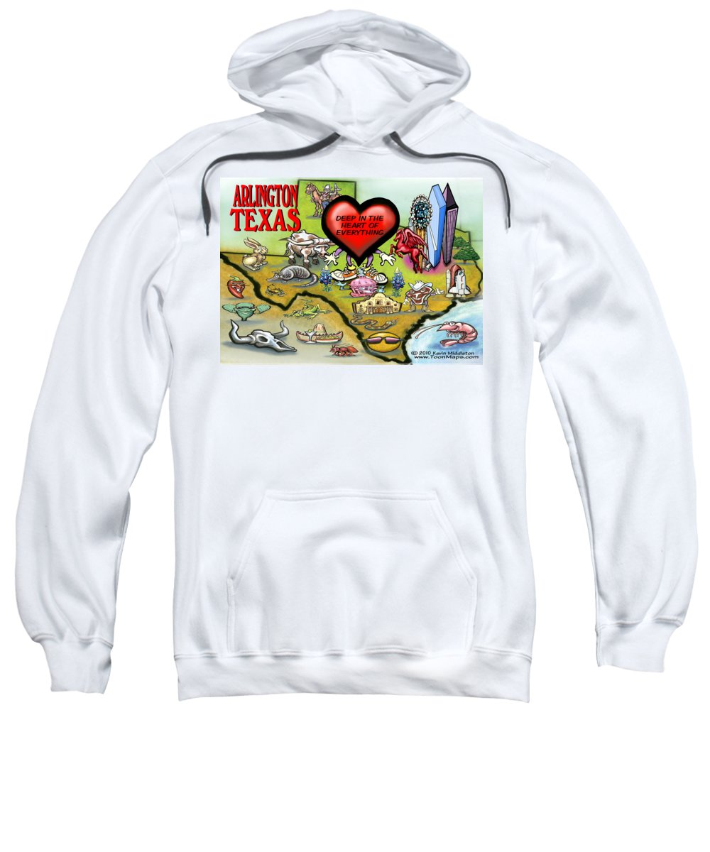 Arlington Sweatshirt featuring the digital art Arlington Texas Cartoon Map by Kevin Middleton
