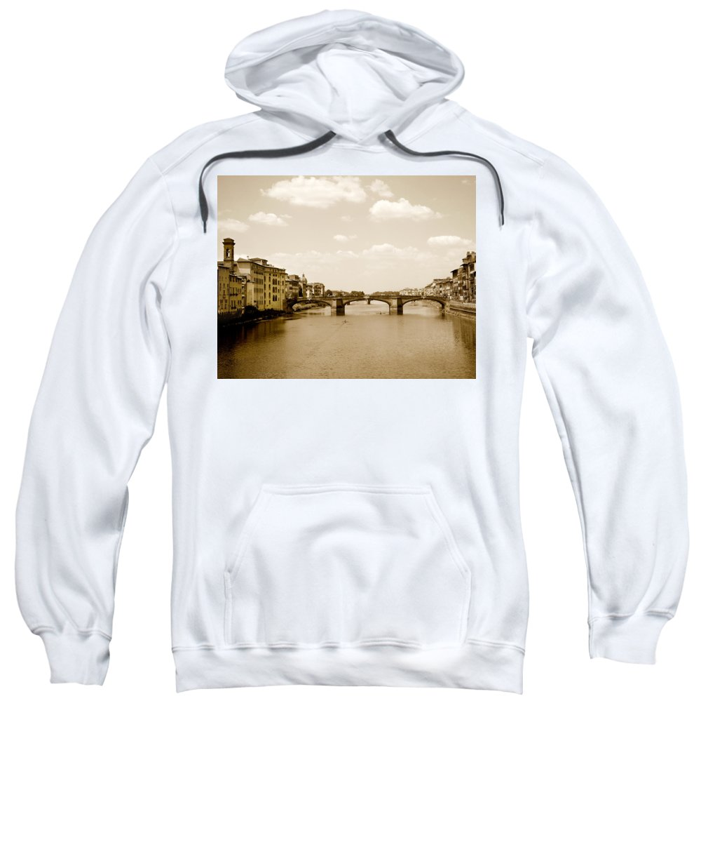 Italy Sweatshirt featuring the photograph Arno River Florence by Marilyn Hunt