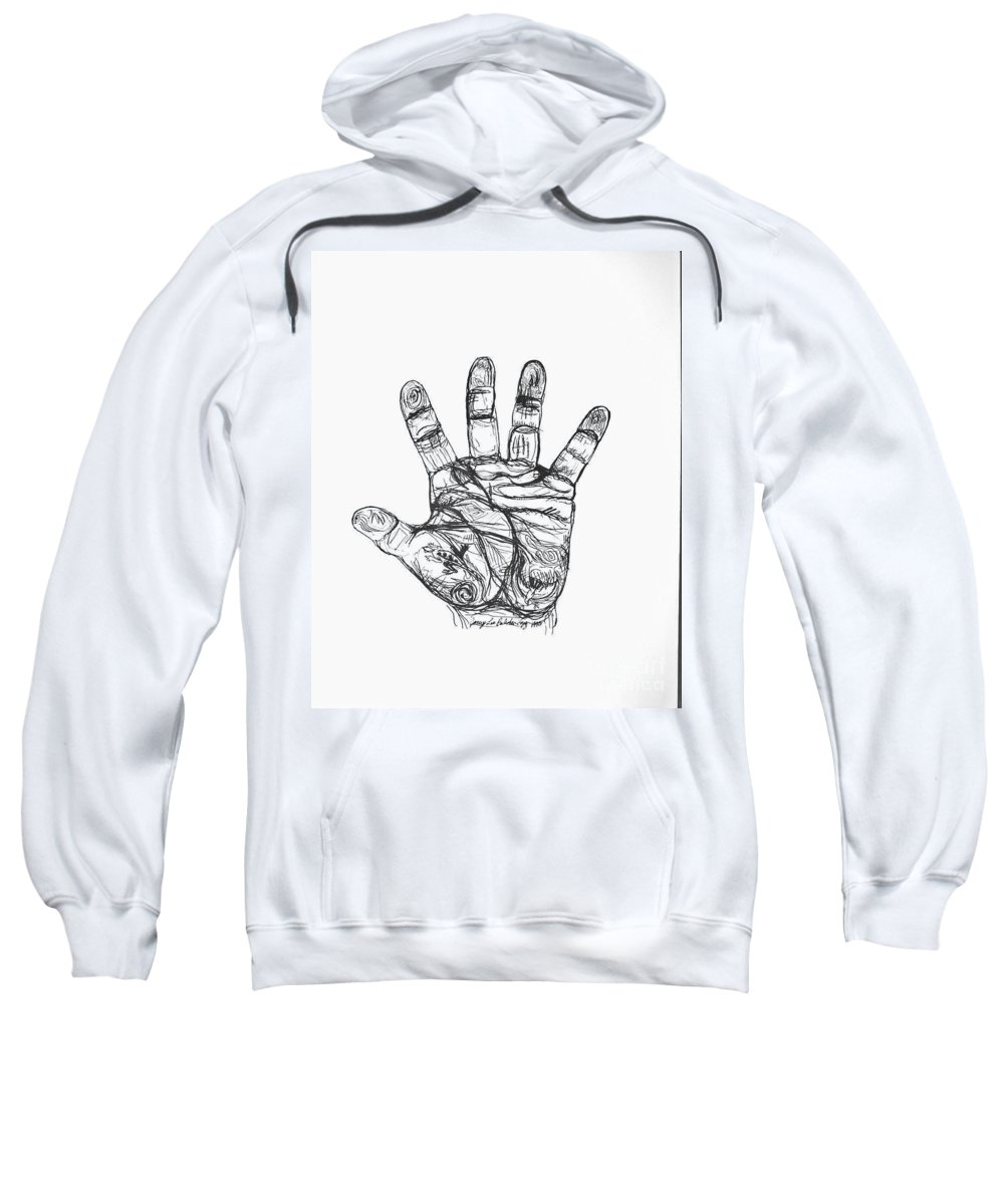 Hands Sweatshirt featuring the drawing Artists Hand Variation I by Jamey Balester