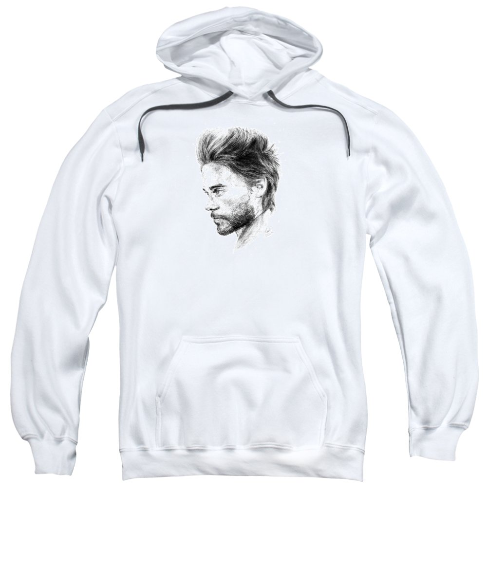 Jared Leto Portrait Pencil Paper Drawing Actor Singer Sweatshirt featuring the drawing Jared Leto by Nadi Sabirova