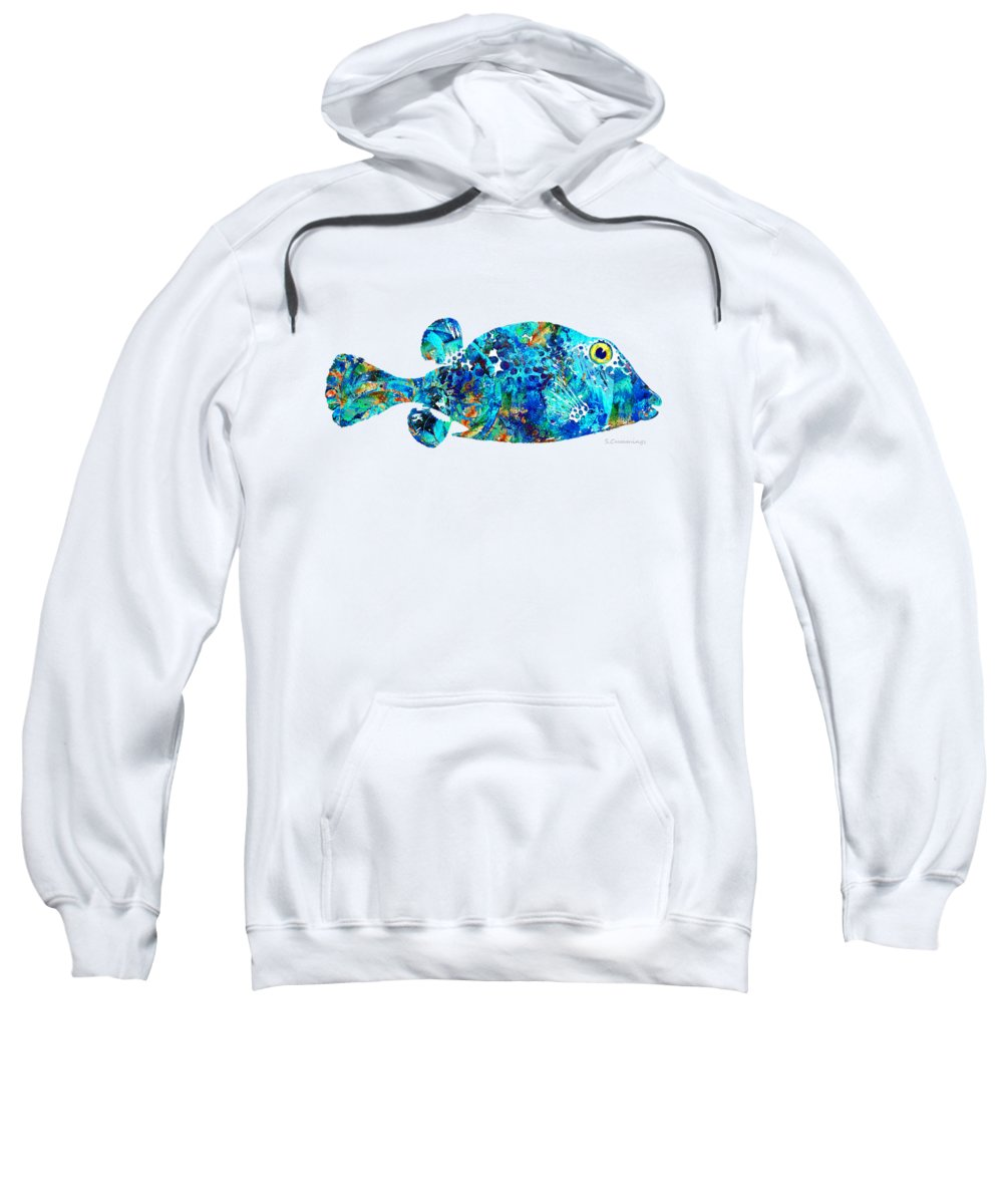 Fish Sweatshirt featuring the painting Blue Puffer Fish Art By Sharon Cummings by Sharon Cummings