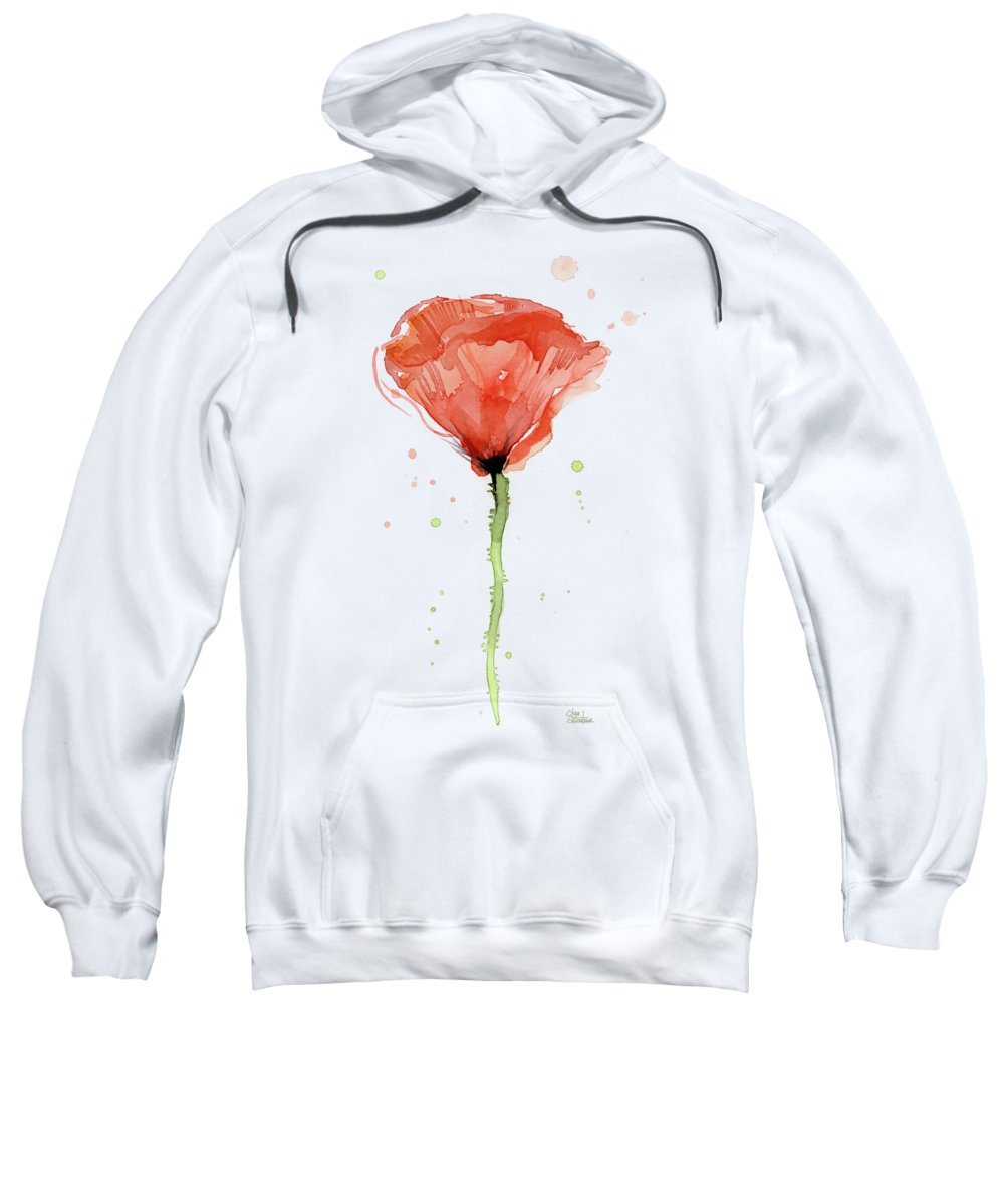 Watercolor Poppy Sweatshirt featuring the painting Abstract Red Poppy Watercolor by Olga Shvartsur