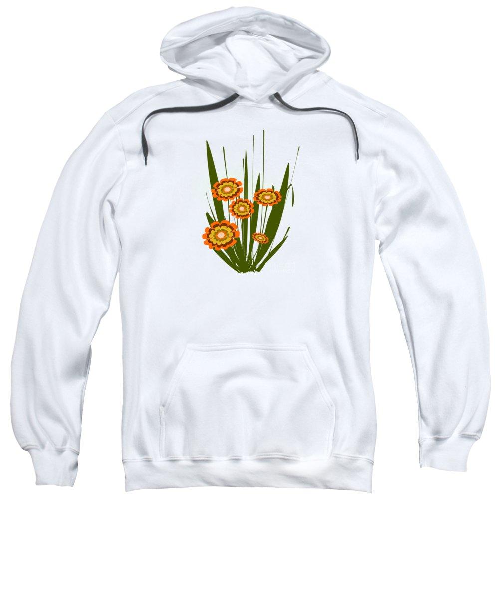 Malakhova Sweatshirt featuring the digital art Orange Flowers by Anastasiya Malakhova