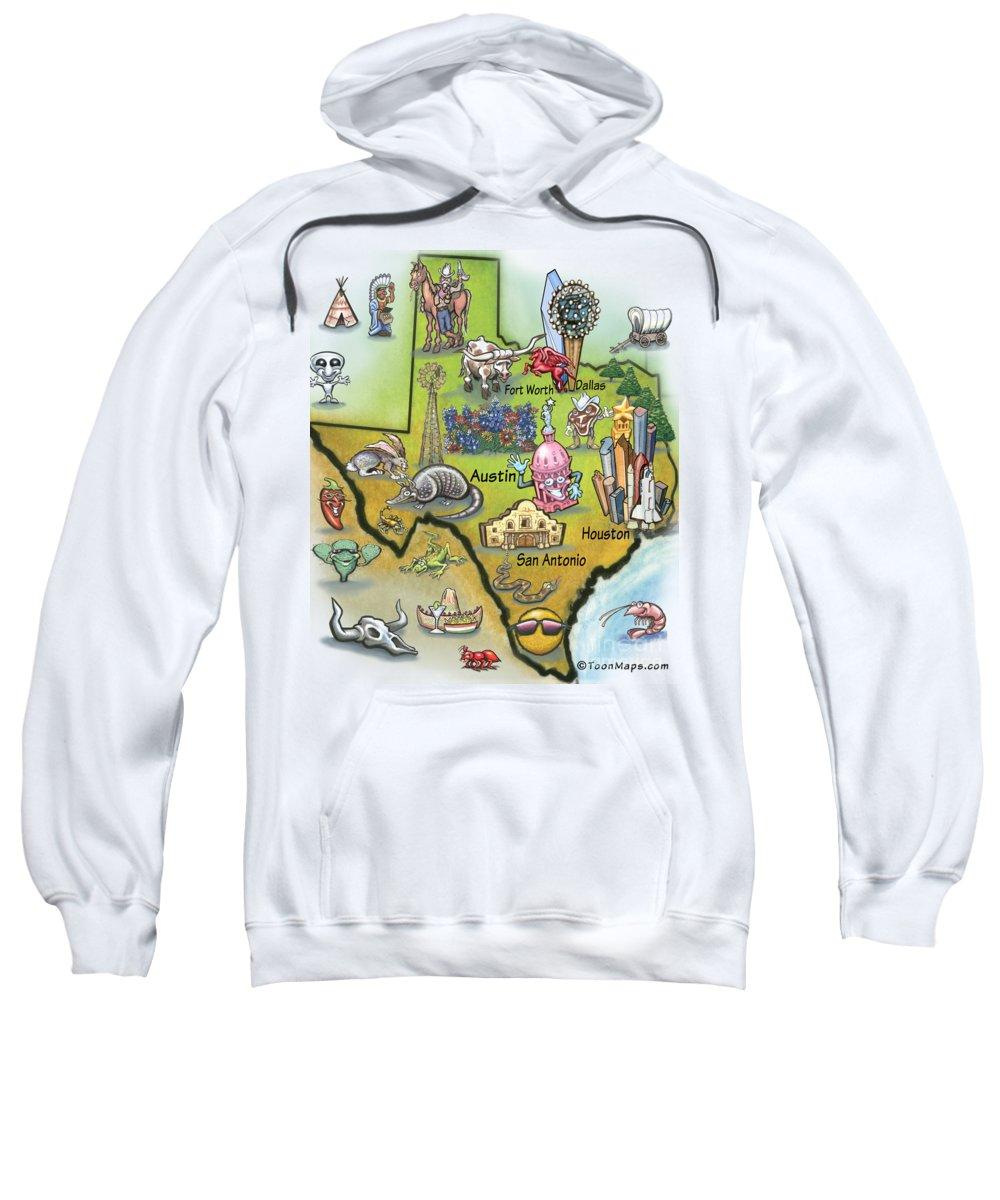 Texas Sweatshirt featuring the digital art Texas Cartoon Map by Kevin Middleton