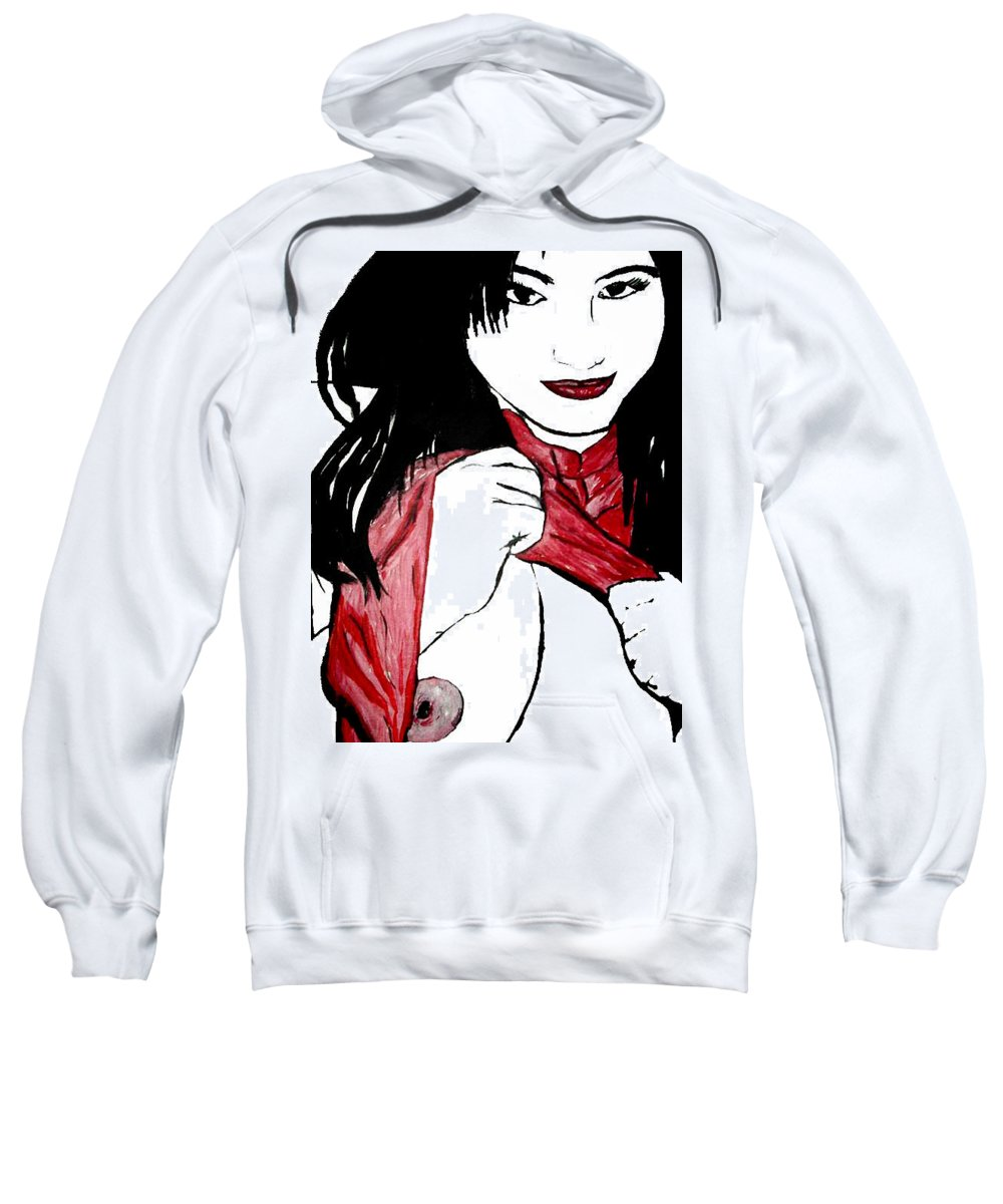 Black.white Sweatshirt featuring the painting Asain Dreams by Thomas Oliver
