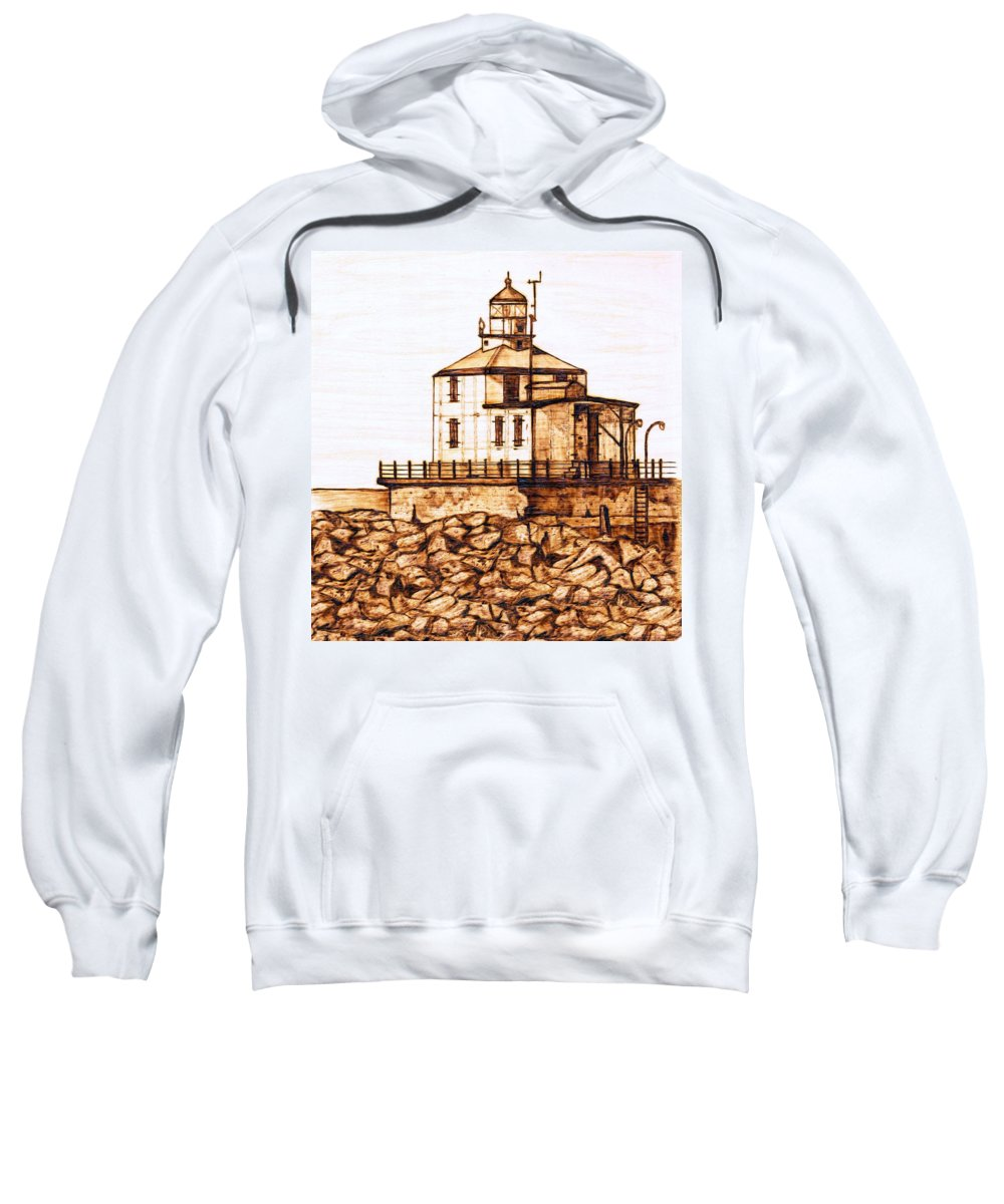 Lighthouse Sweatshirt featuring the pyrography Ashtabula Harbor by Danette Smith