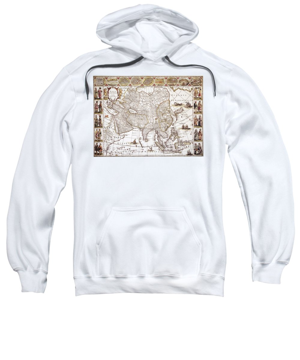 1618 Sweatshirt featuring the photograph Asia: Map, C1618 by Granger
