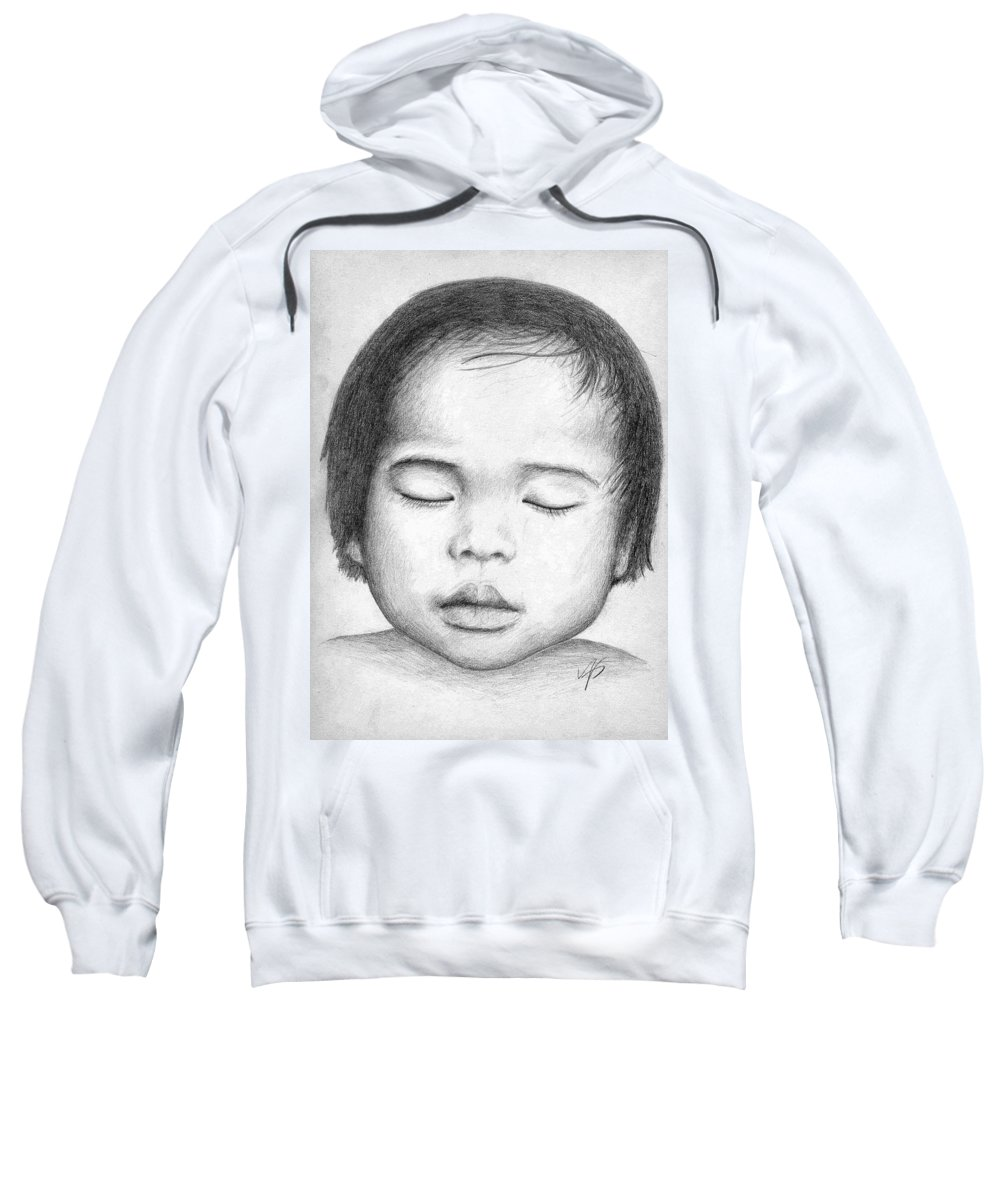 Baby Sweatshirt featuring the drawing Asian Baby by Nicole Zeug