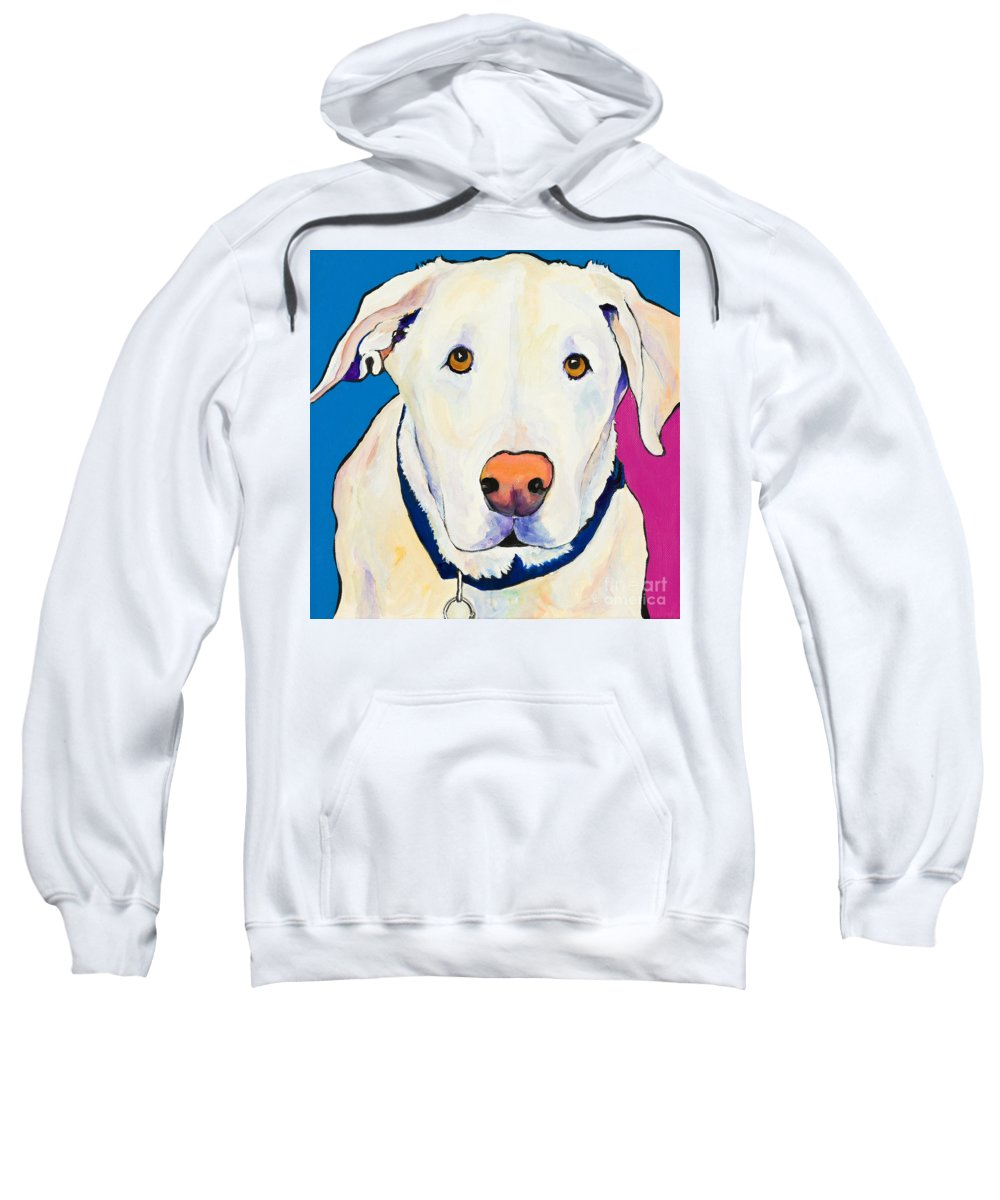 White Lab Yellow Lab Animal Paintings Golden Eyes Square Format Dogs Pets Rescued Sweatshirt featuring the painting Aslinn by Pat Saunders-White