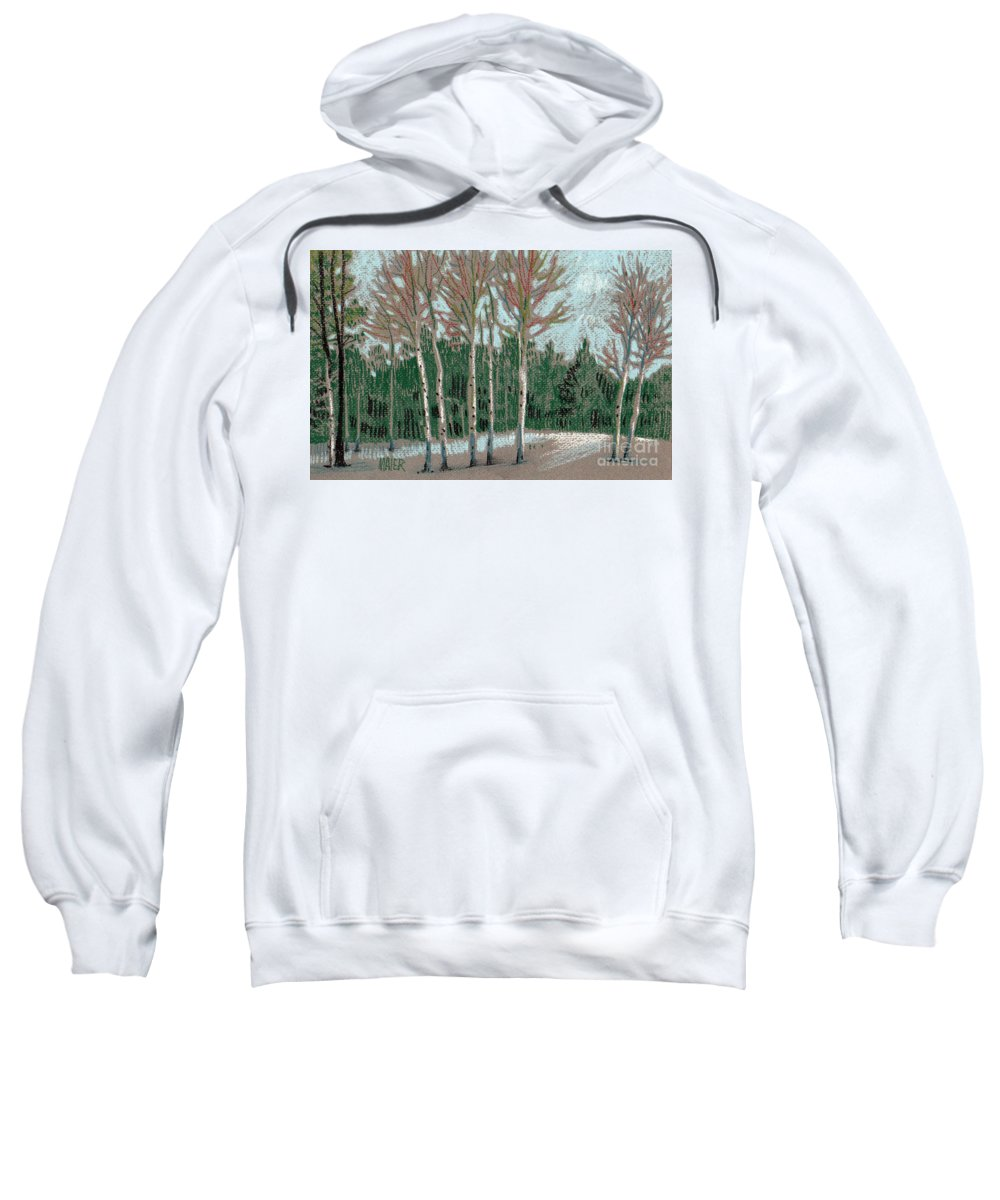 Aspens Sweatshirt featuring the drawing Aspen In The Snow by Donald Maier