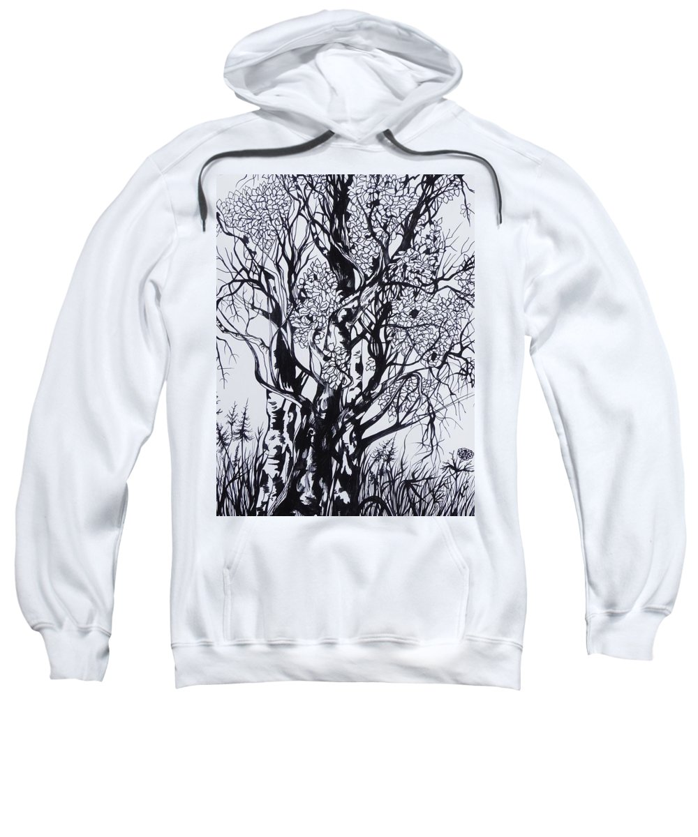 Ink And Pen Sweatshirt featuring the drawing Aspens by Anna Duyunova