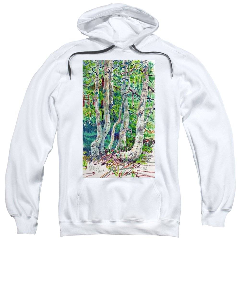 Aspens Sweatshirt featuring the drawing Aspens by Donald Maier