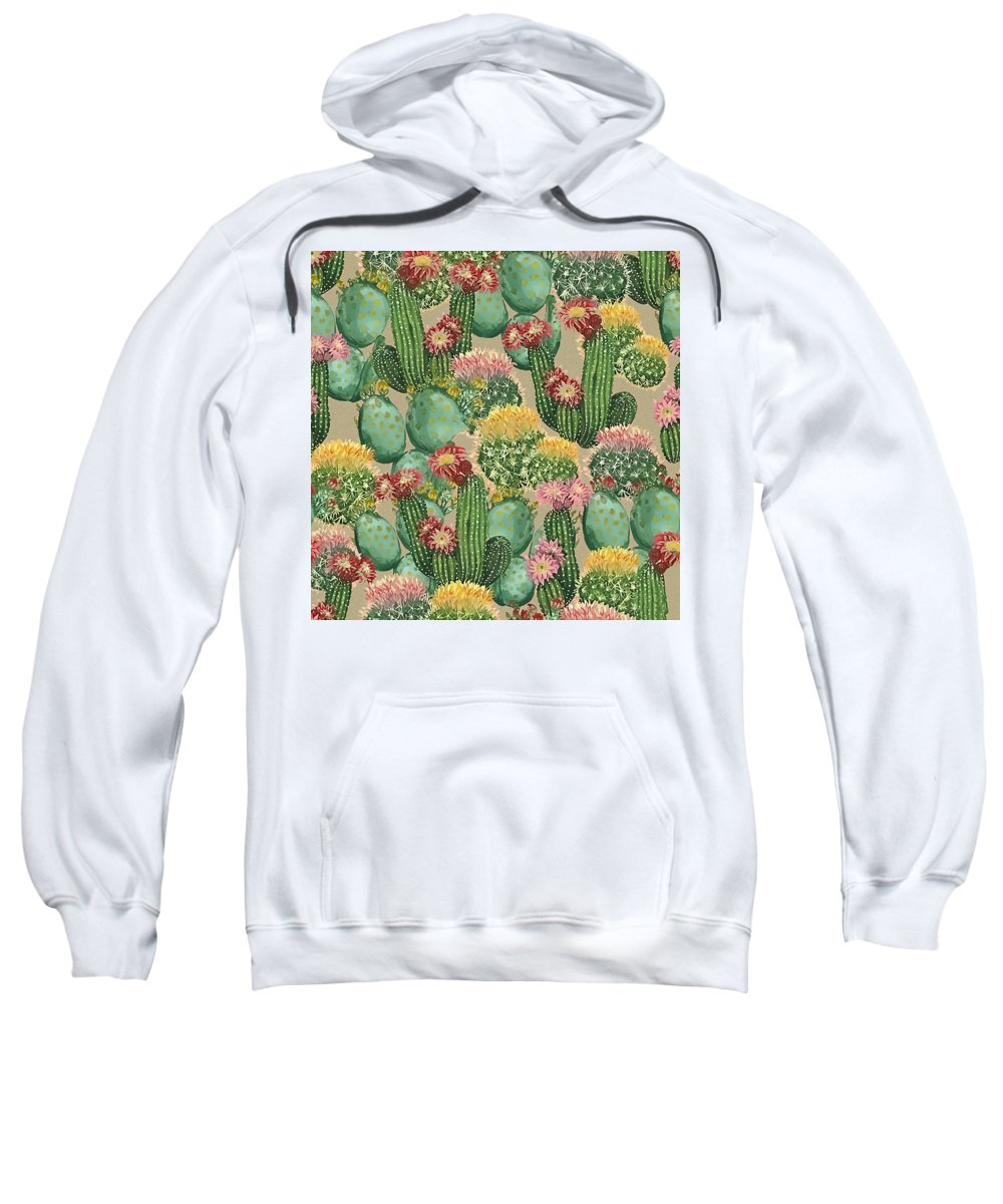 Plants Sweatshirt featuring the painting Assorted Blooming Cactus Plants by Elaine Plesser