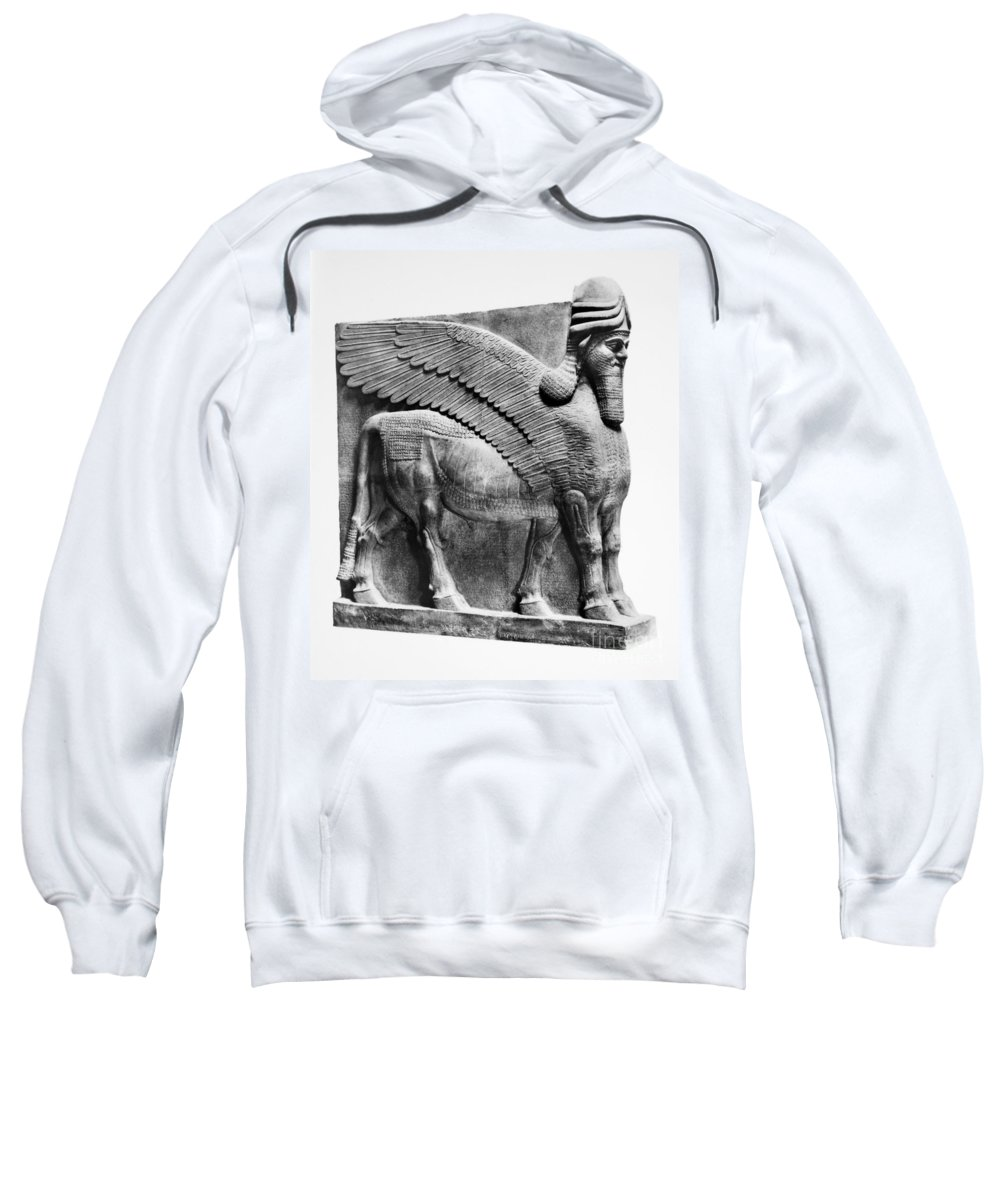 883 B.c Sweatshirt featuring the photograph Assyria: Bull Scultpure by Granger