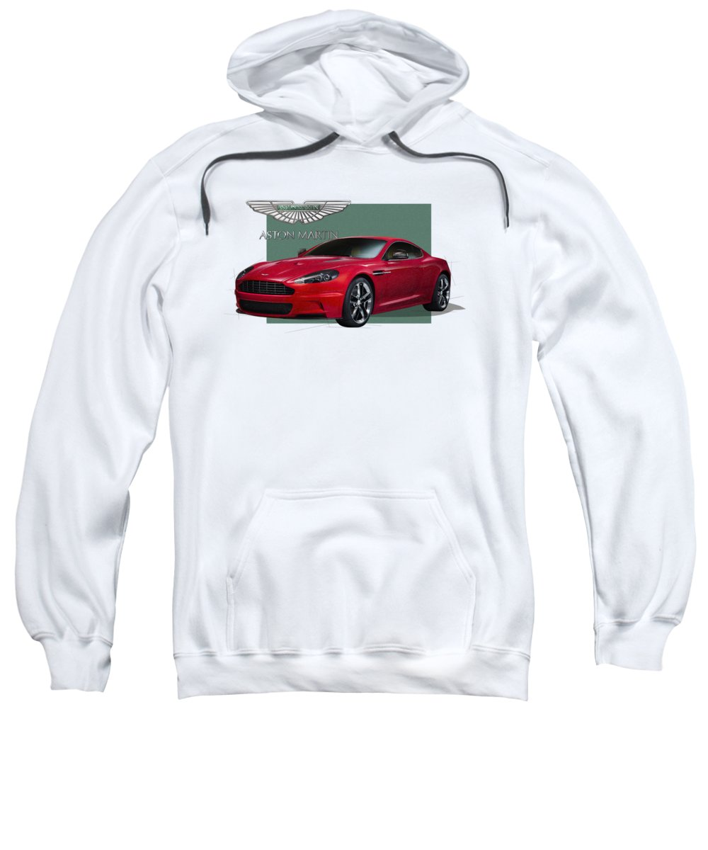 �aston Martin� By Serge Averbukh Sweatshirt featuring the photograph Aston Martin D B S V 12 With 3 D Badge by Serge Averbukh