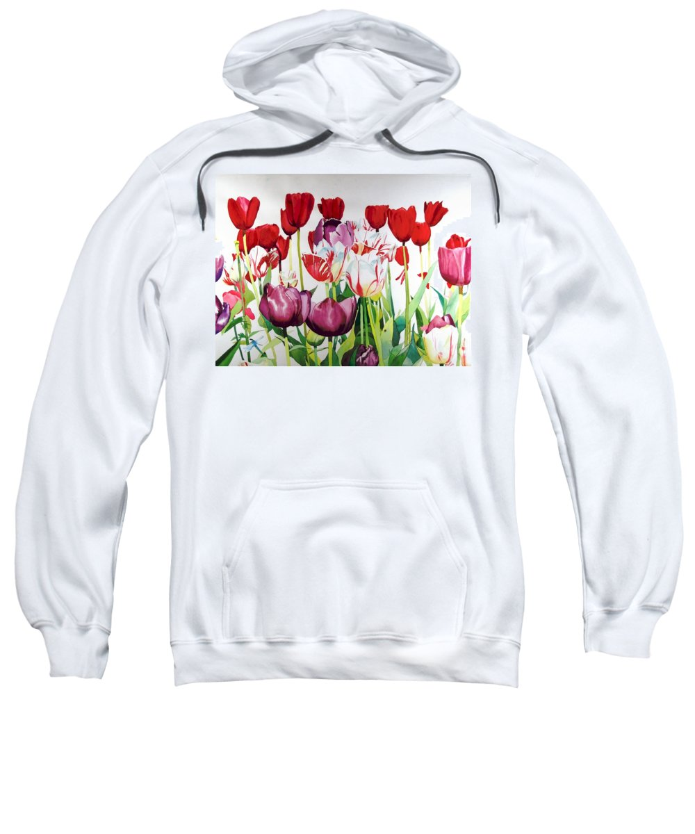 Tulips Sweatshirt featuring the painting Attention by Elizabeth Carr