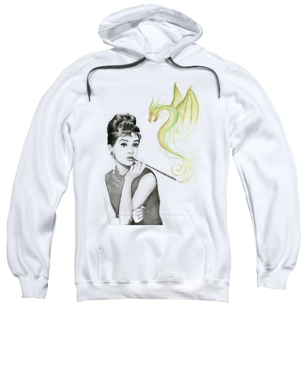 Audrey Sweatshirt featuring the painting Audrey And Her Magic Dragon by Olga Shvartsur