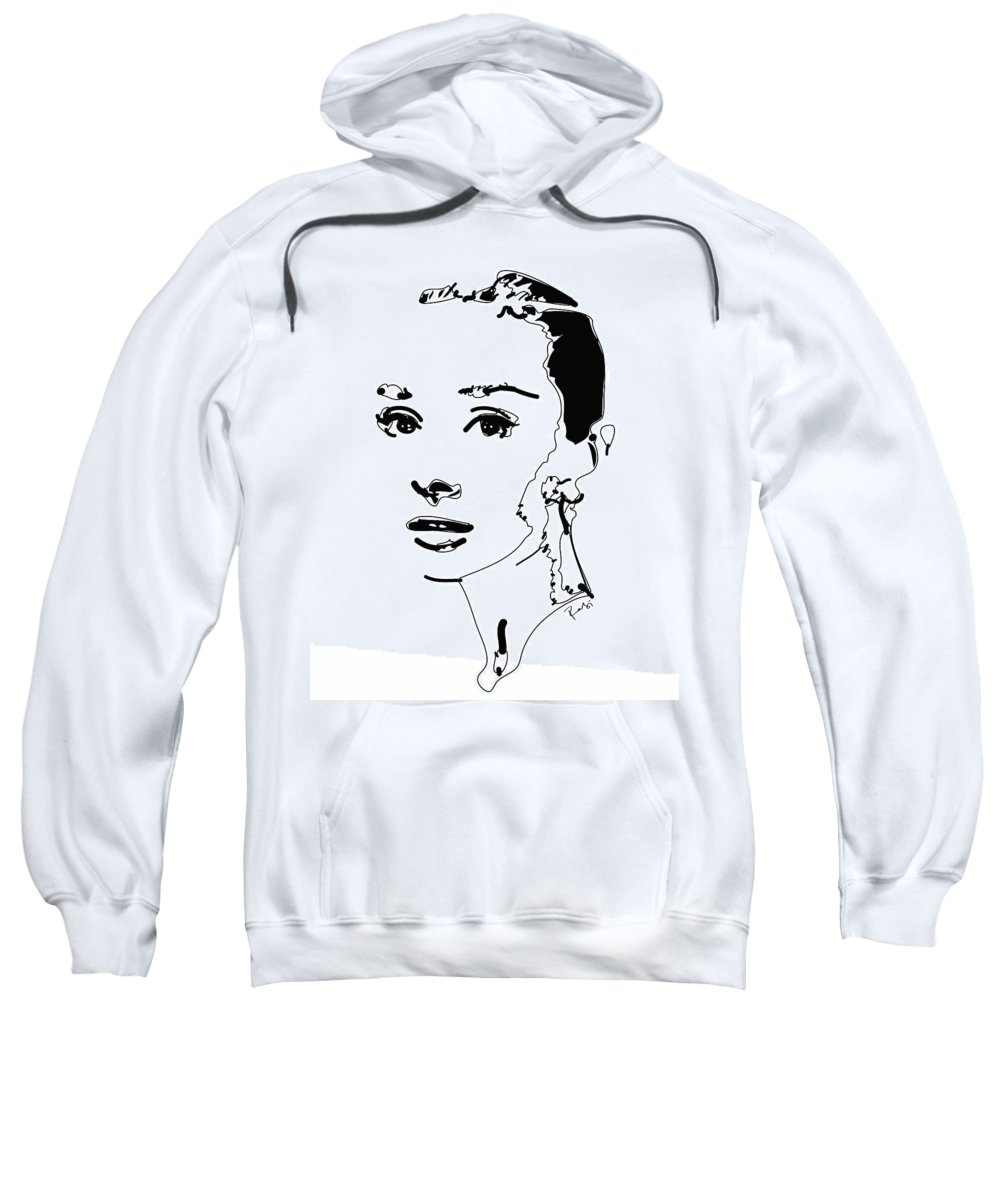 Actress Sweatshirt featuring the digital art Audrey Hepburn by Rabi Khan