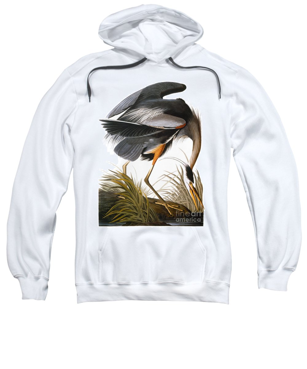 1838 Sweatshirt featuring the photograph Audubon Heron by John James Audubon