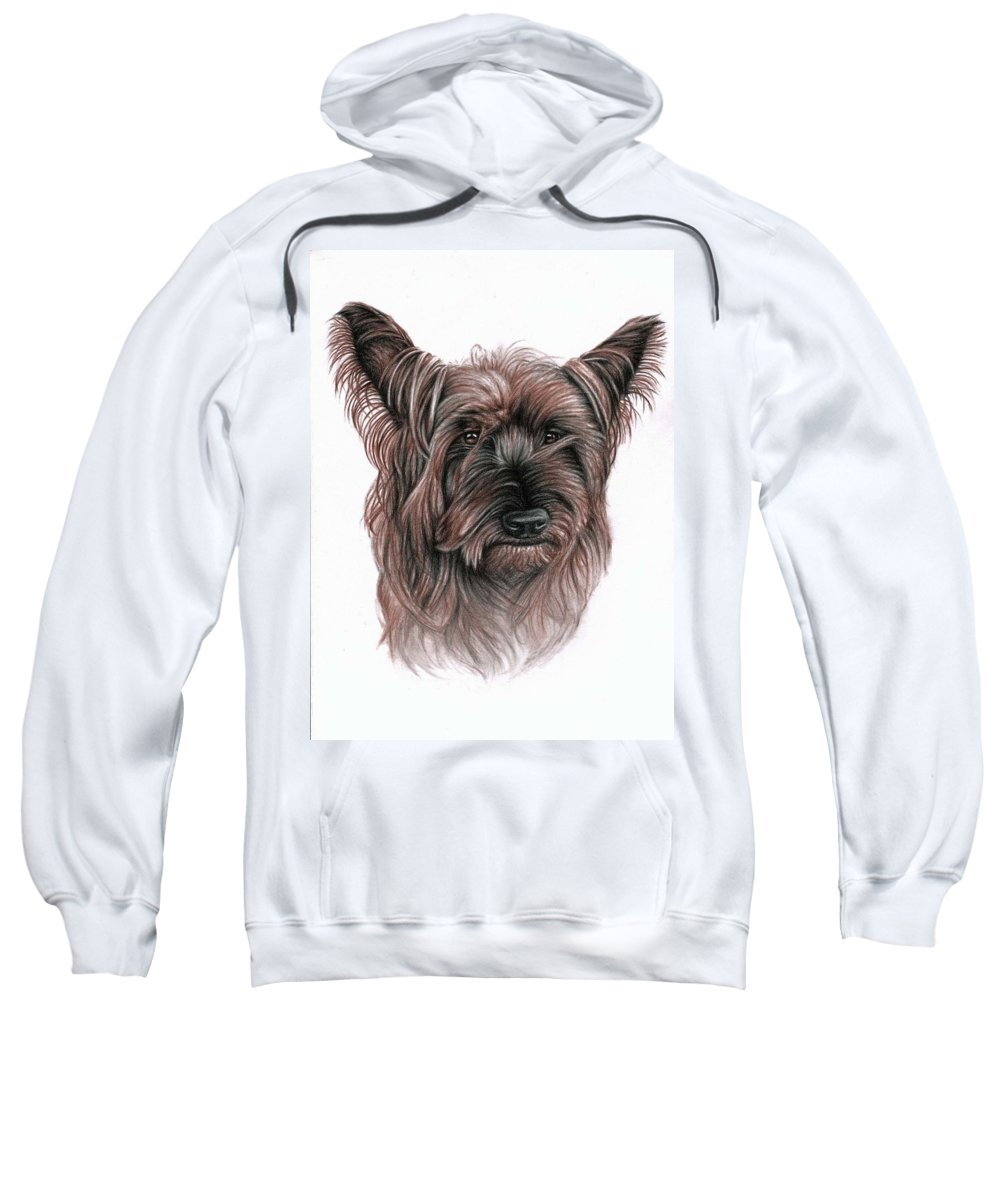 Dog Sweatshirt featuring the drawing Australian Terrier by Nicole Zeug