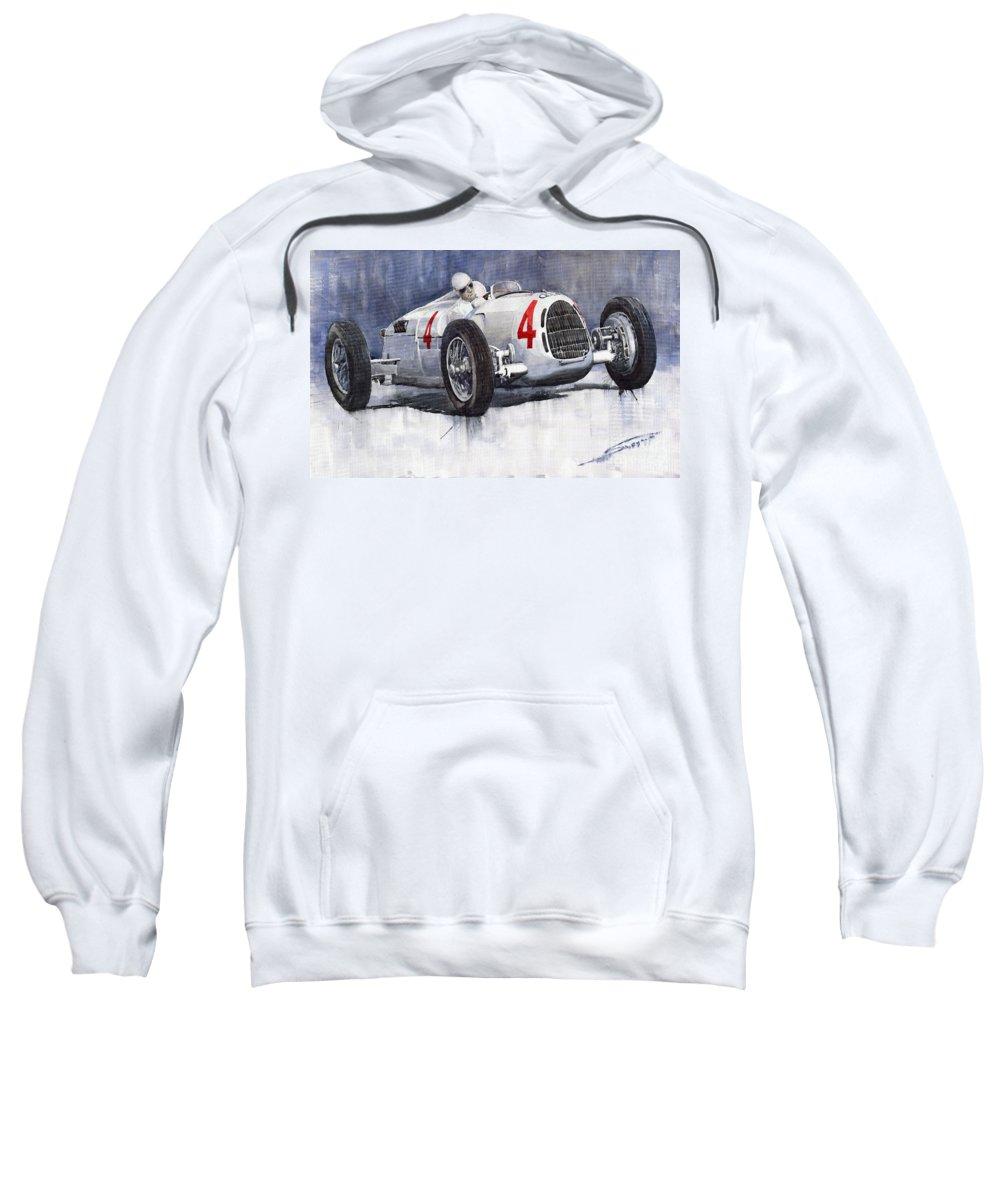 Auto Sweatshirt featuring the painting Auto Union C Type 1937 Monaco Gp Hans Stuck by Yuriy Shevchuk