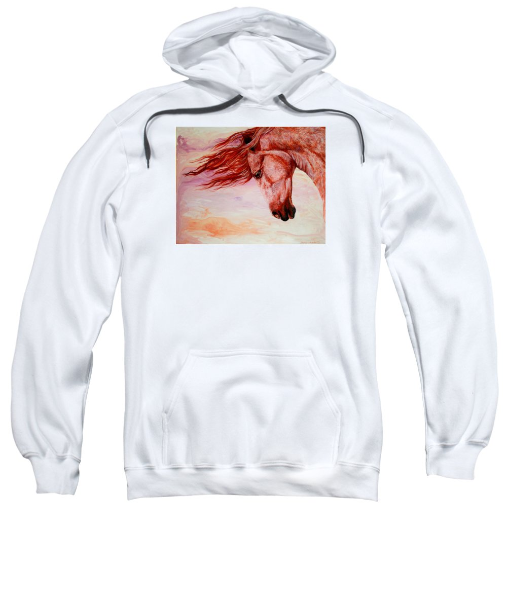 Horse Sweatshirt featuring the painting Autumn Breeze by Sherry Shipley
