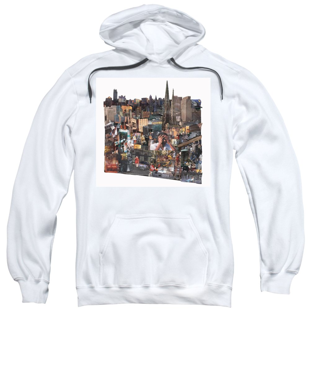 City Sweatshirt featuring the mixed media Avoidance Aka Sit And Stand by Jaime Becker