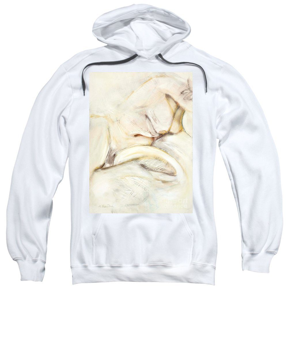 Female Sweatshirt featuring the drawing Award Winning Abstract Nude by Kerryn Madsen-Pietsch