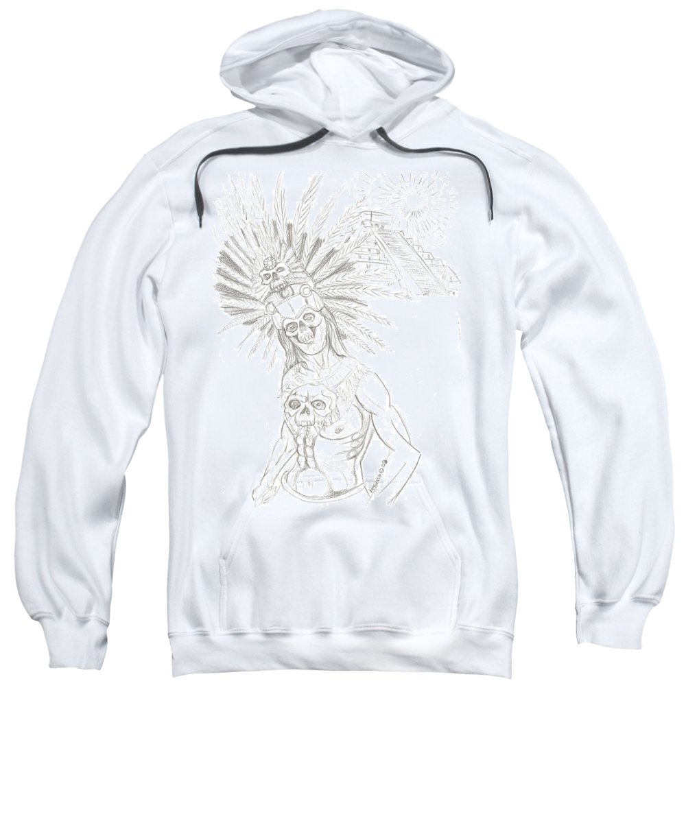 Aztec Sweatshirt featuring the drawing Aztec Warrior In Front Of Chicchen Itza by Americo Salazar