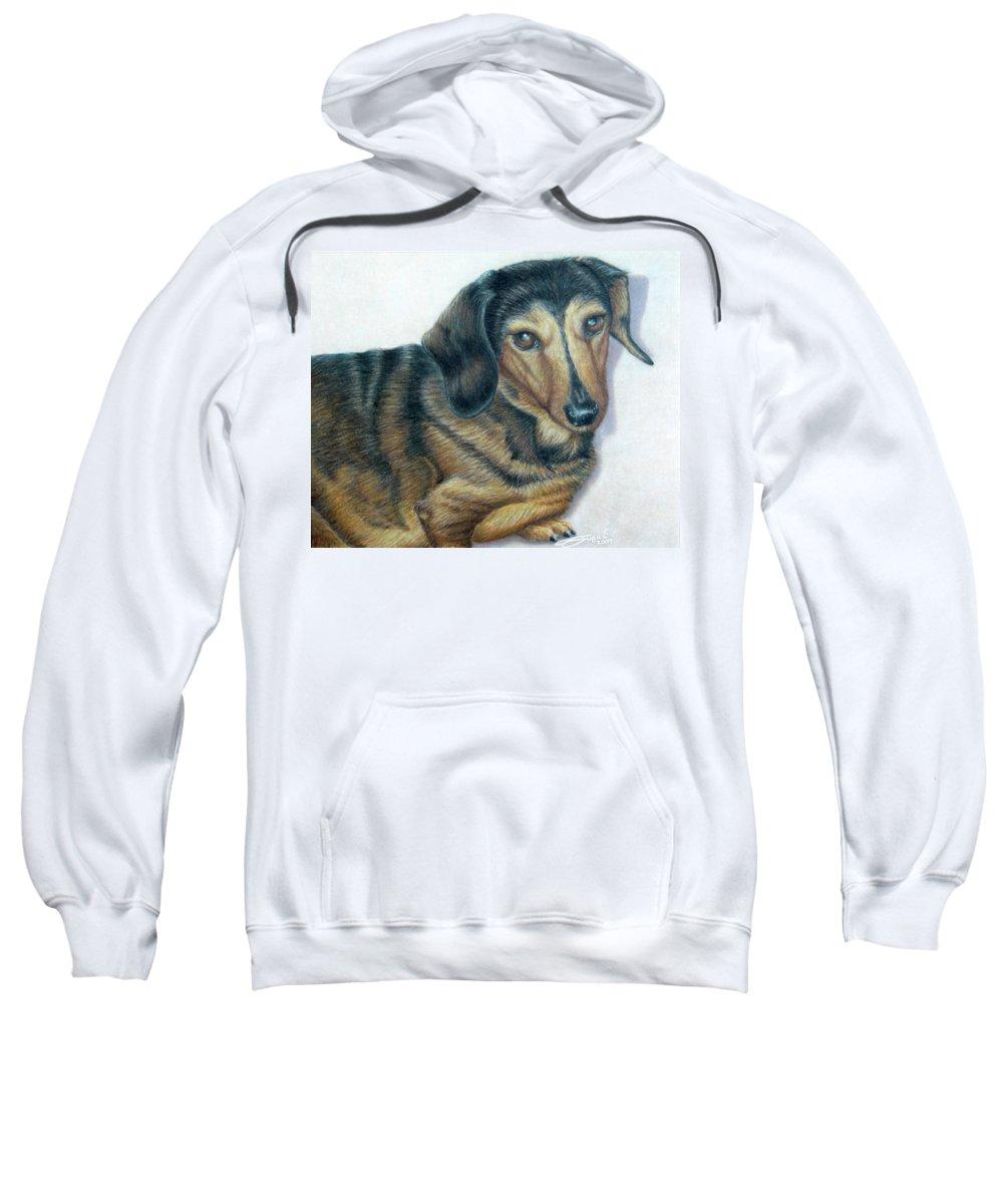Fuqua - Artwork Sweatshirt featuring the drawing Babe by Beverly Fuqua