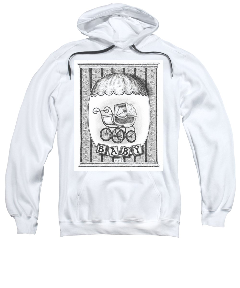 Black Sweatshirt featuring the drawing Baby Carriage by Adam Zebediah Joseph