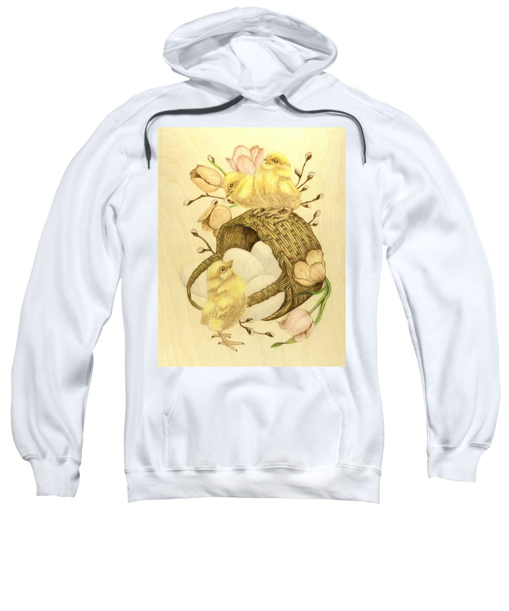 Chicks Sweatshirt featuring the pyrography Baby Chicks by Danette Smith