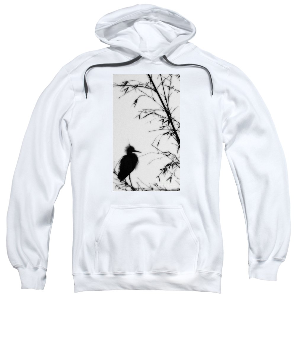 Egret Sweatshirt featuring the photograph Baby Egret Waits by Linda Shafer