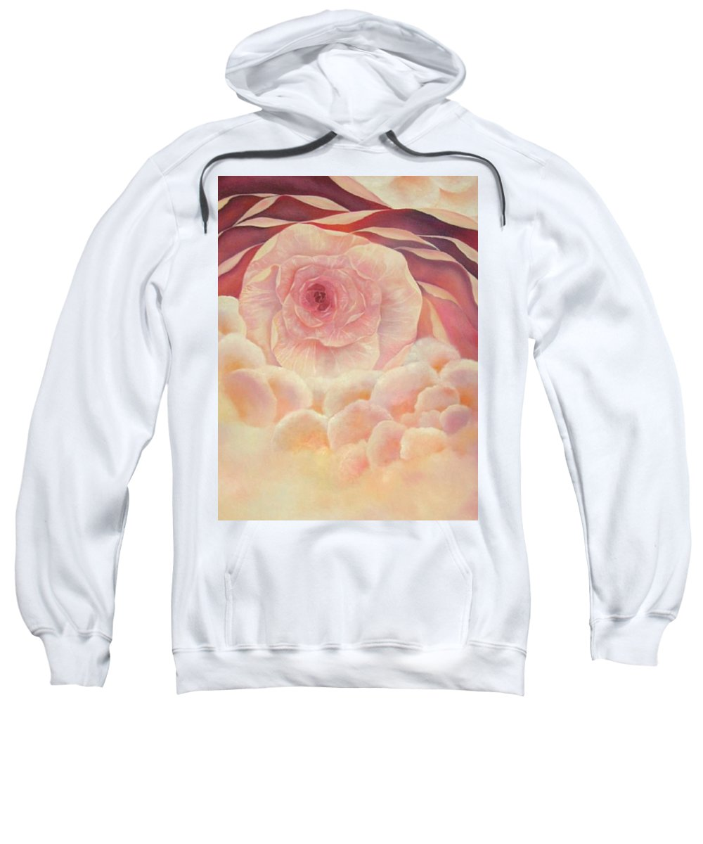 Oil Sweatshirt featuring the painting Baby Rose by Peggy Guichu