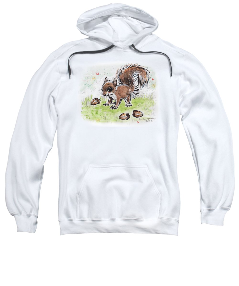 Baby Squirrel Sweatshirt featuring the drawing Baby Squirrel by Maria Bolton-Joubert