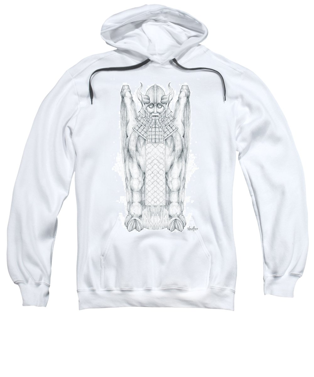 Babylonian Sweatshirt featuring the drawing Babylonian Sphinx Lamassu by Curtiss Shaffer