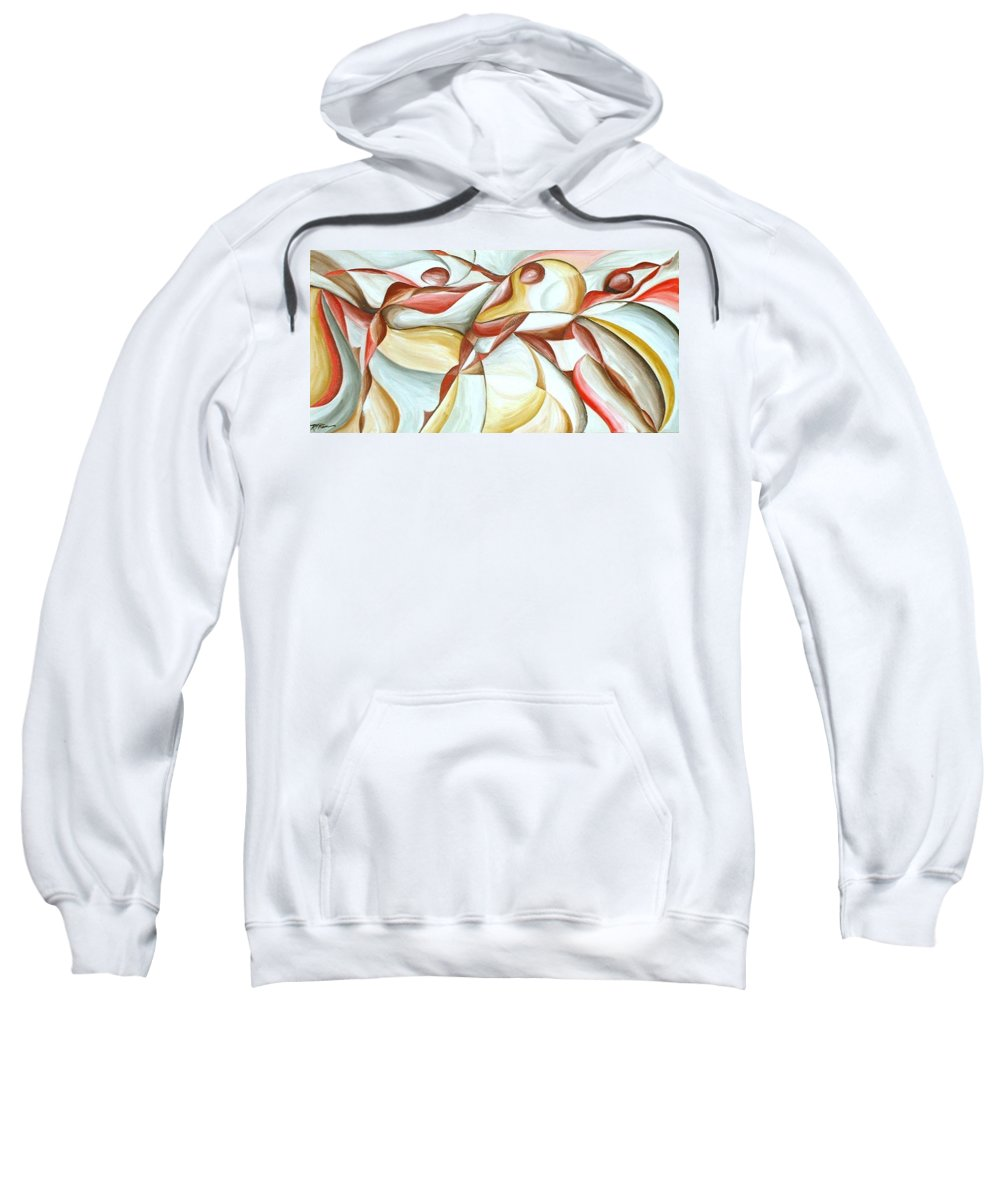 Figure Sweatshirt featuring the painting Bacchanal by Rowena Finn