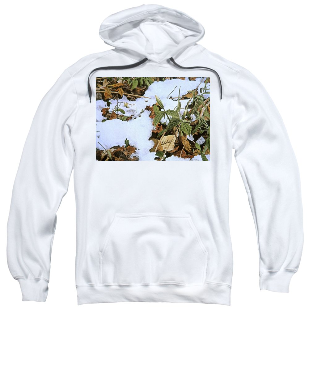 Still Life Sweatshirt featuring the painting Back Forty by Conrad Mieschke