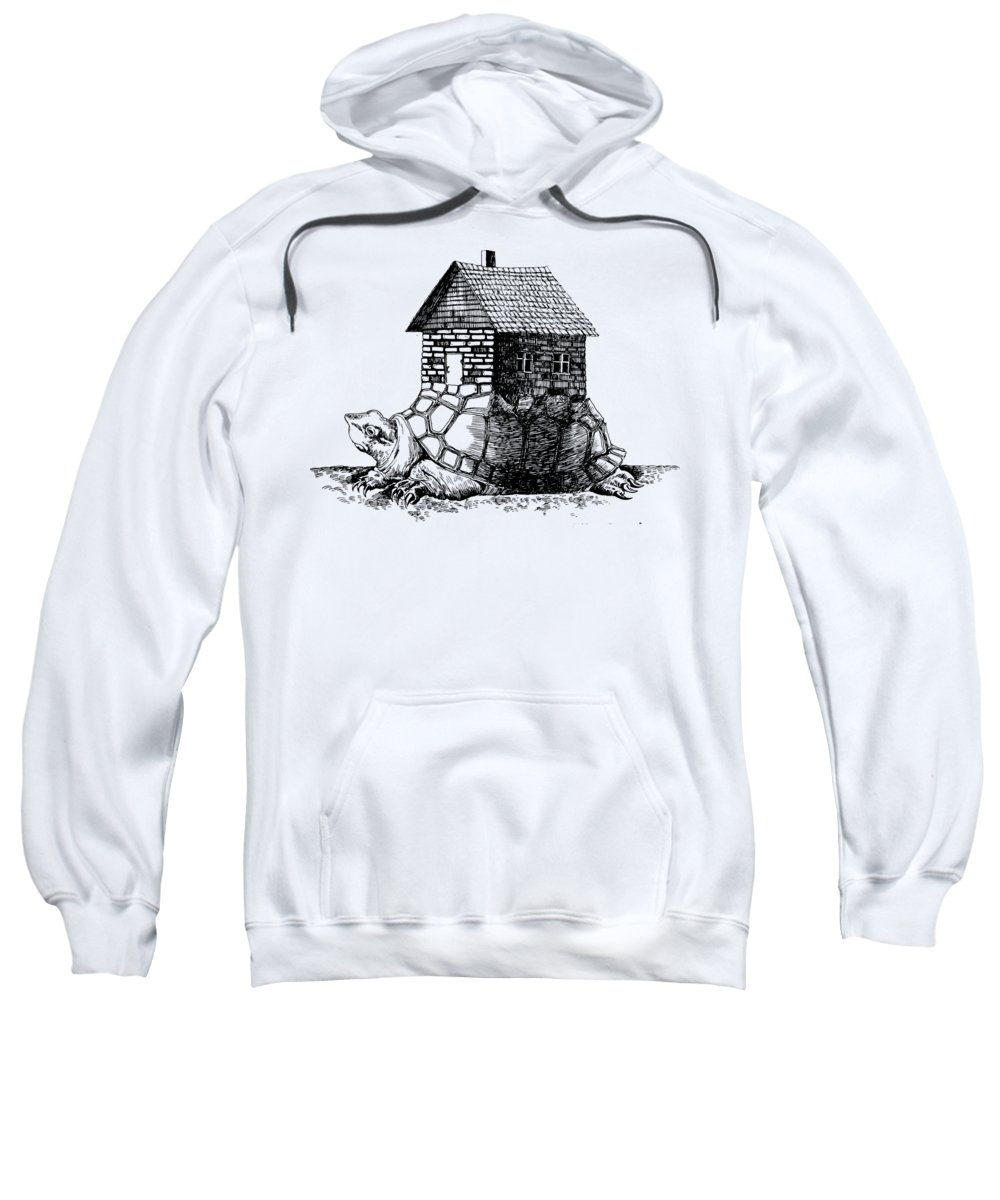 Innovation Sweatshirt featuring the drawing Backpack-house by Mike Bogatyrev
