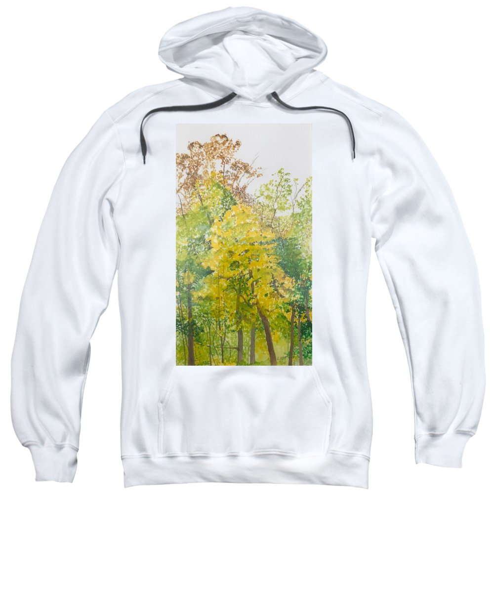 Autumn Sweatshirt featuring the painting Backyard by Leah Tomaino