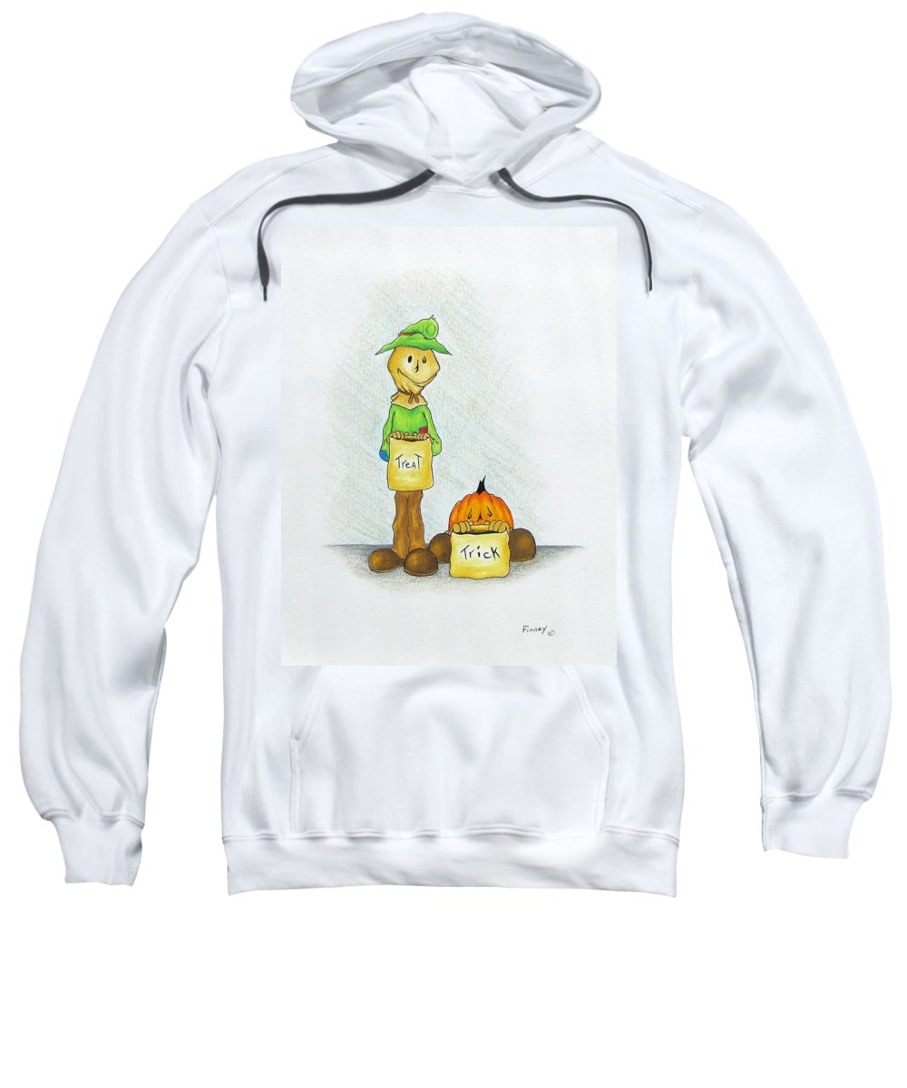 Michael Tmad Finney Sweatshirt featuring the drawing Baggs And Boo Treat Or Trick by Michael TMAD Finney